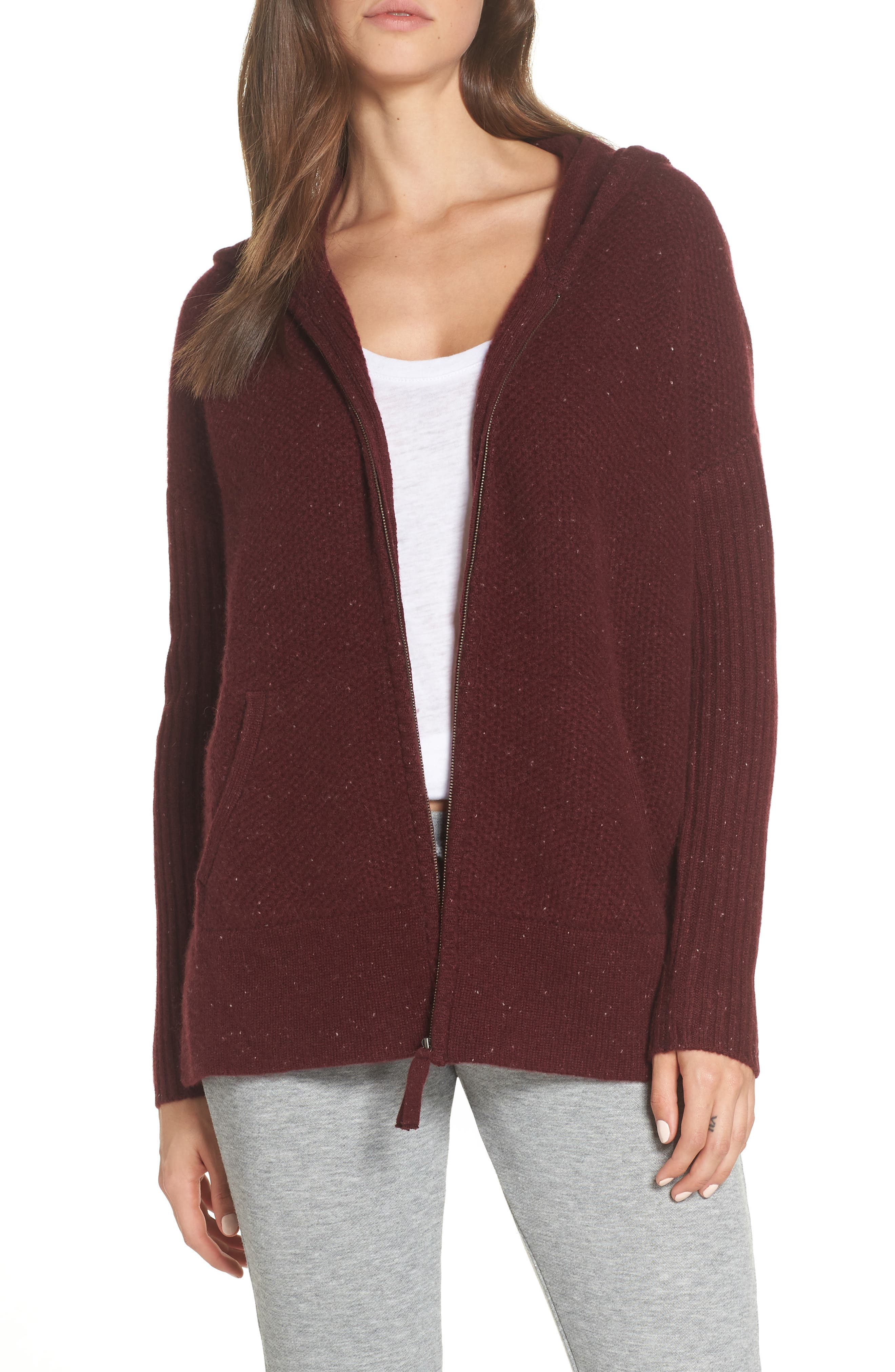 Elyse Cashmere Zip Hoodie,                         Main,                         color, PORT HEATHER