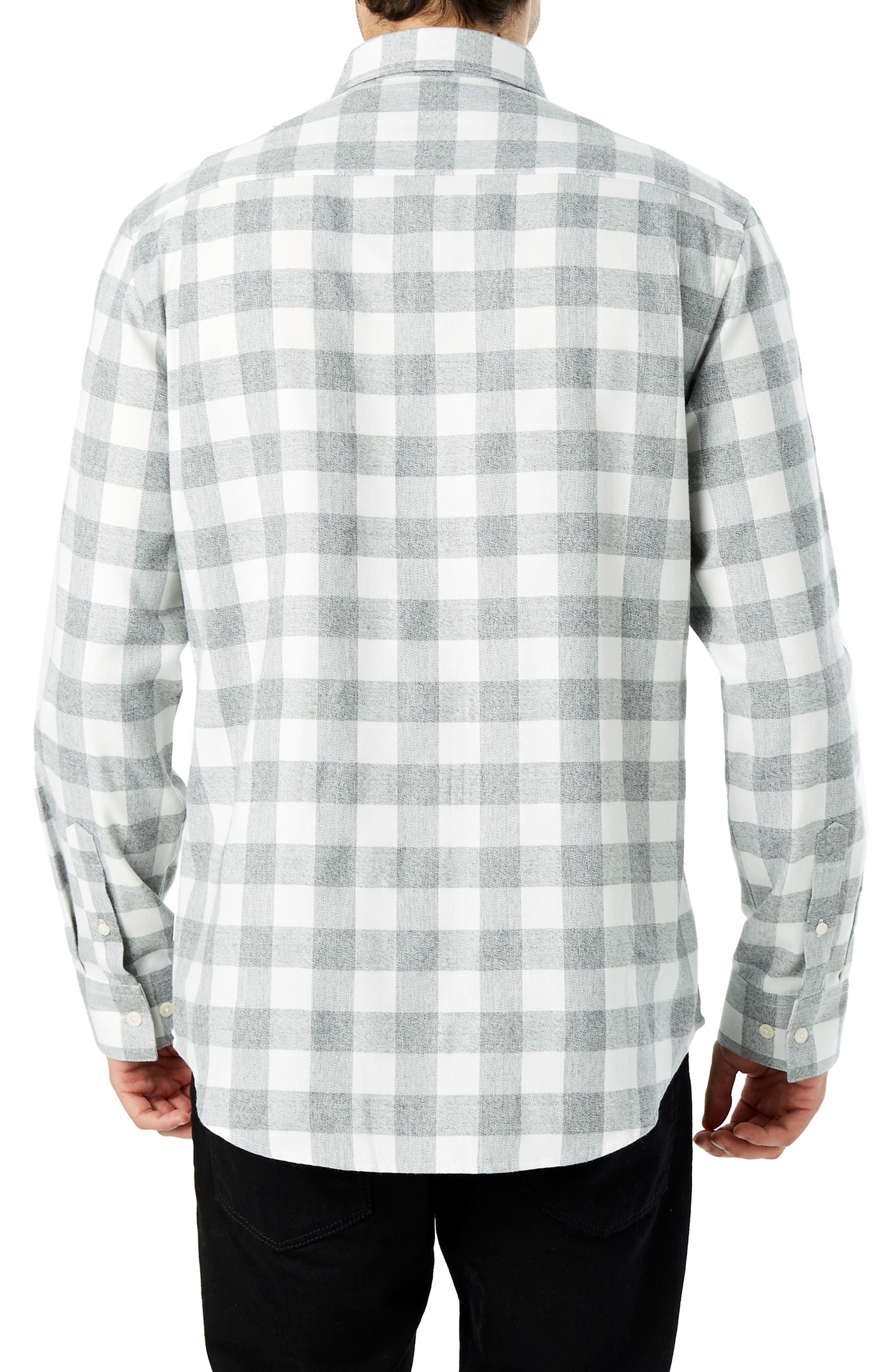 Sparrow Trim Fit Flannel Shirt,                             Alternate thumbnail 3, color,                             GREY WHITE