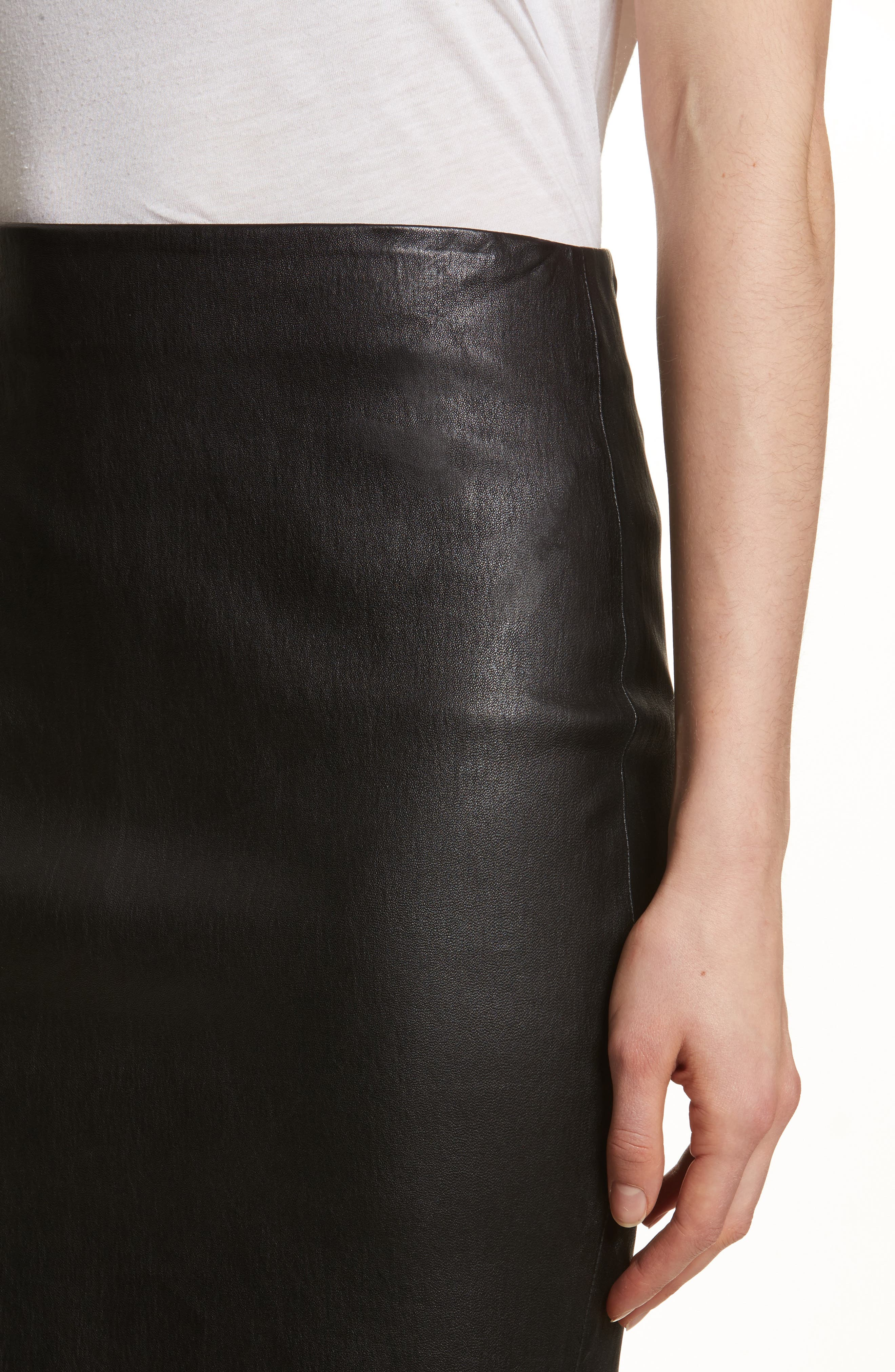 Leather Skinny Pencil Skirt,                             Alternate thumbnail 4, color,                             001
