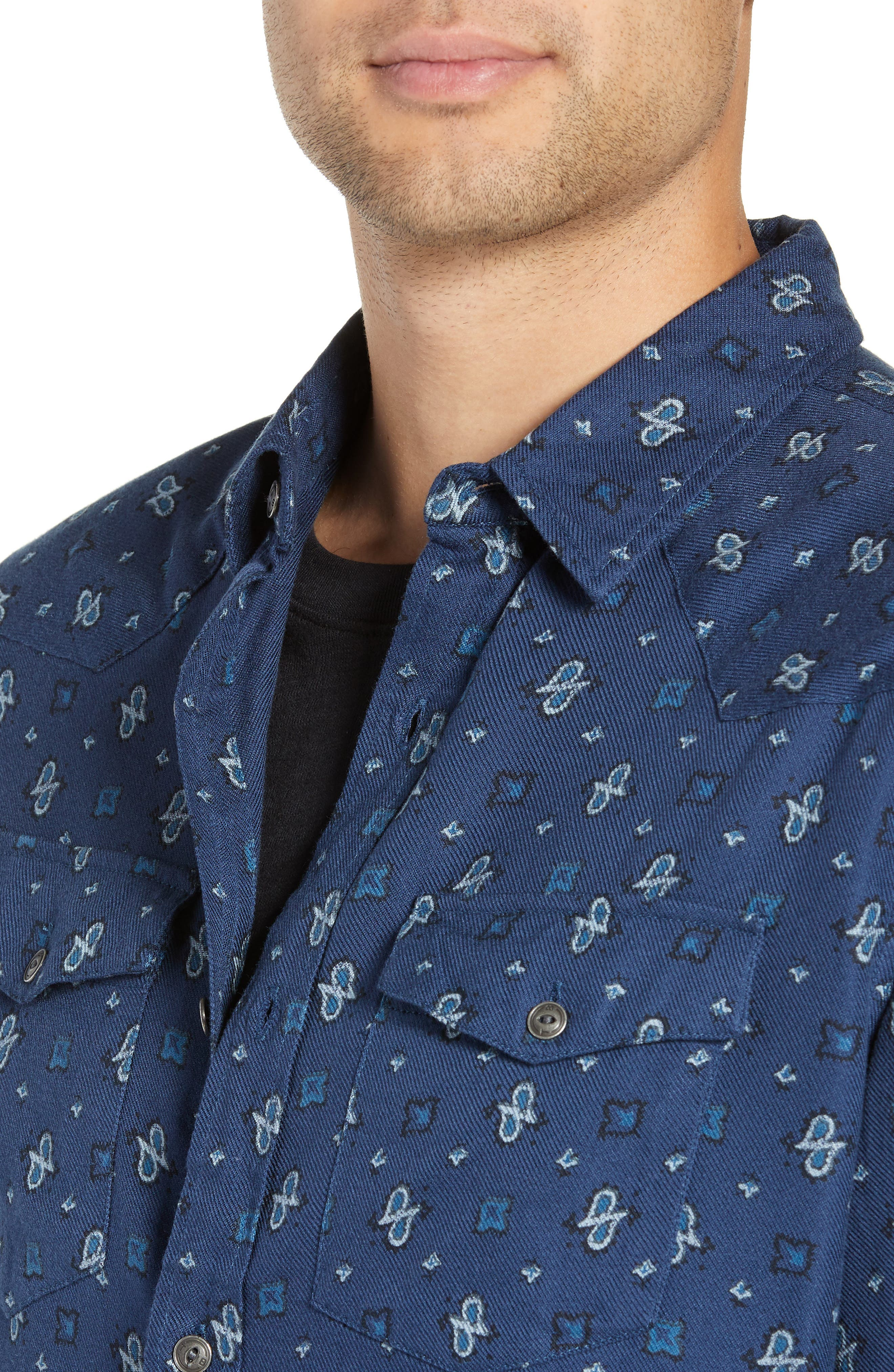 Regular Fit Paisley Western Shirt,                             Alternate thumbnail 2, color,                             BLUE CASPIA DESERT PAISLEY