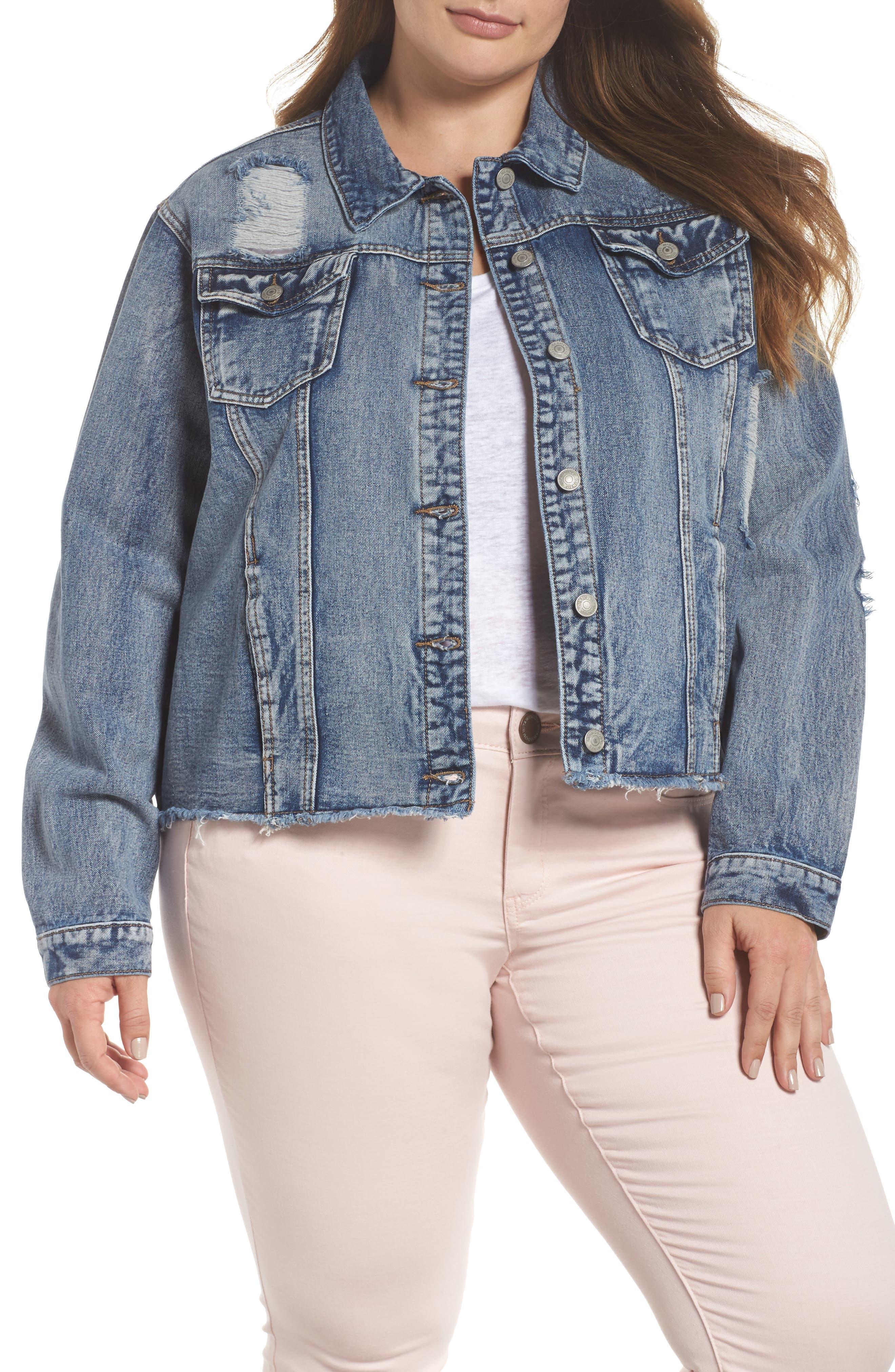 Embellished Distressed Denim Jacket,                         Main,                         color, 420