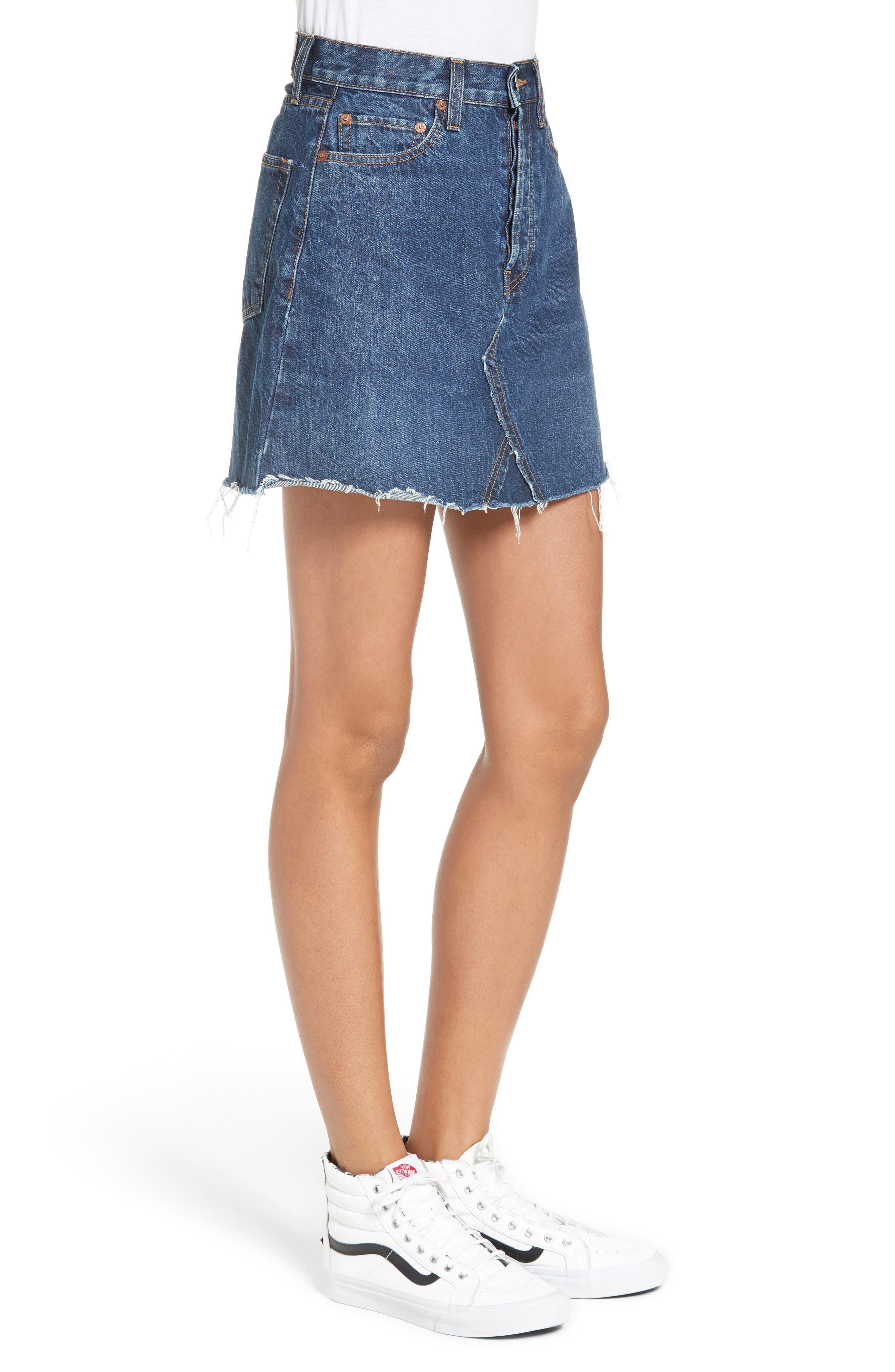 Originals High Waist Denim Miniskirt,                             Alternate thumbnail 3, color,                             401