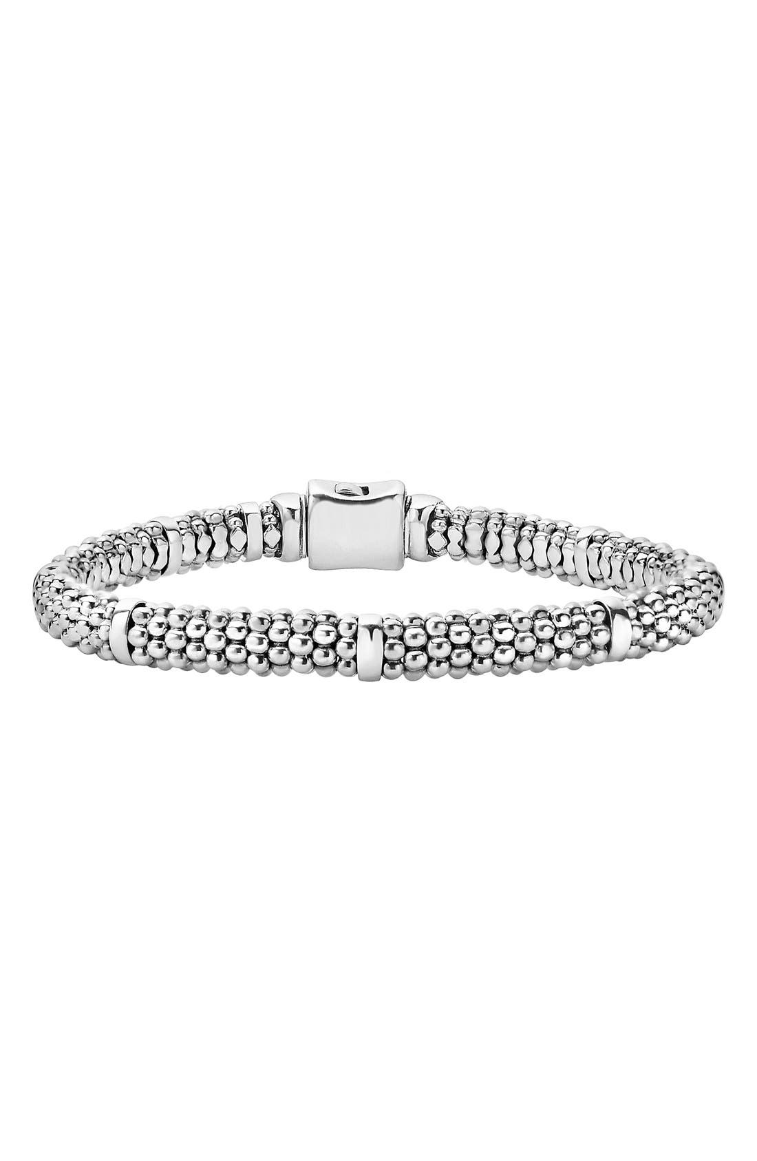 Caviar Rope Station Bracelet,                             Main thumbnail 1, color,                             STERLING SILVER