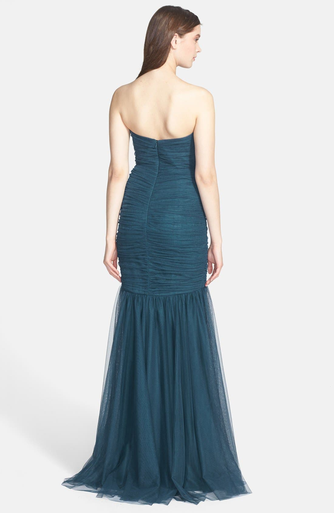 Strapless Tulle Mermaid Gown,                             Alternate thumbnail 14, color,
