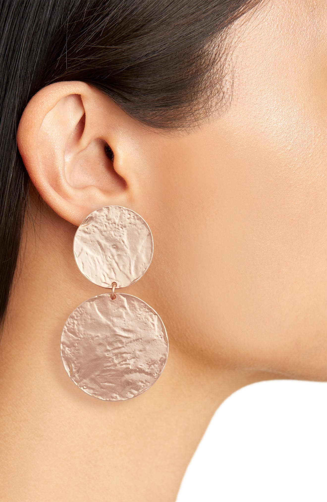 Angelique Large Circle Drop Earrings,                             Alternate thumbnail 2, color,                             ROSE GOLD