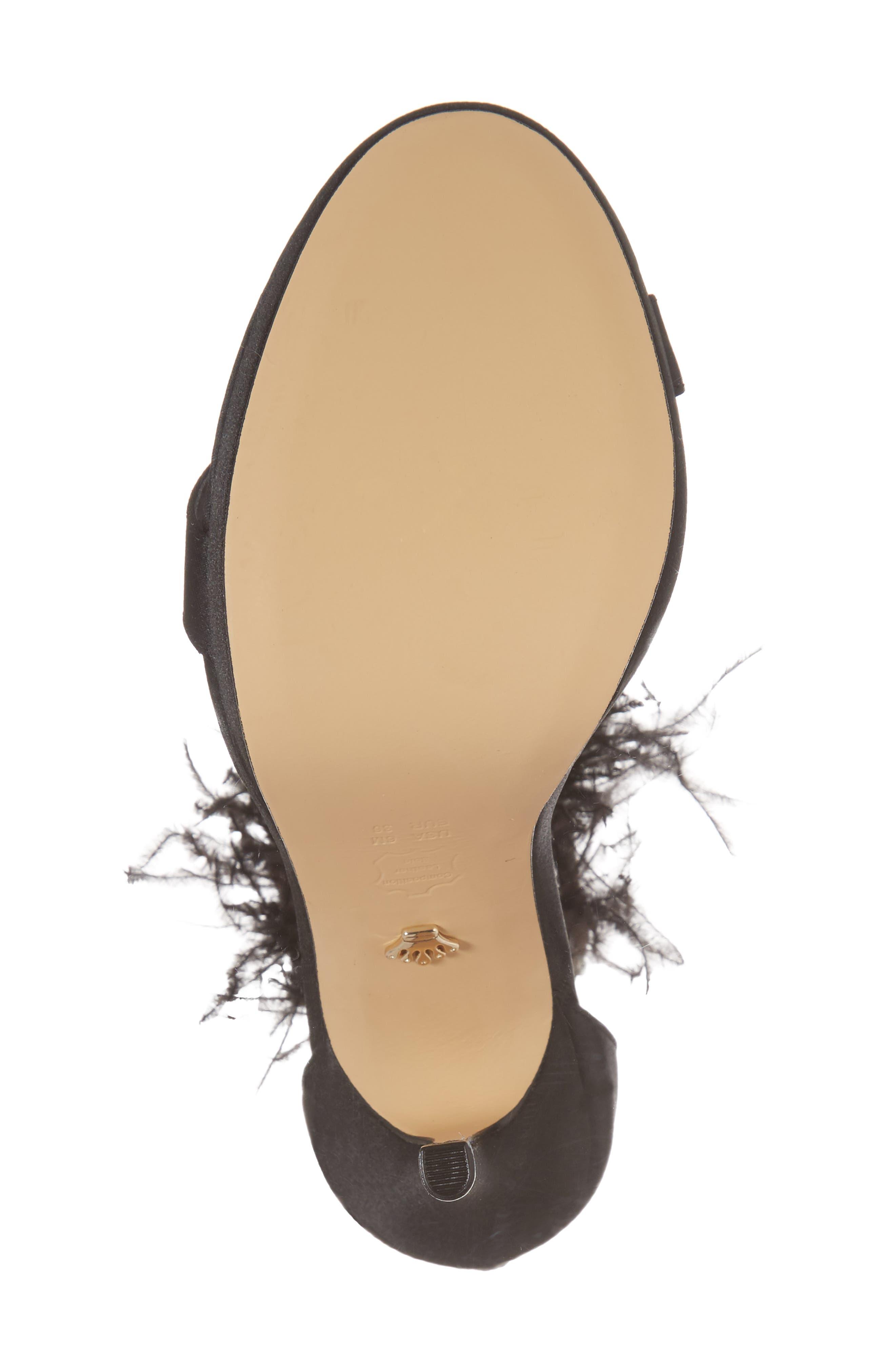 Fran Embellished Feather Sandal,                             Alternate thumbnail 6, color,                             BLACK SATIN