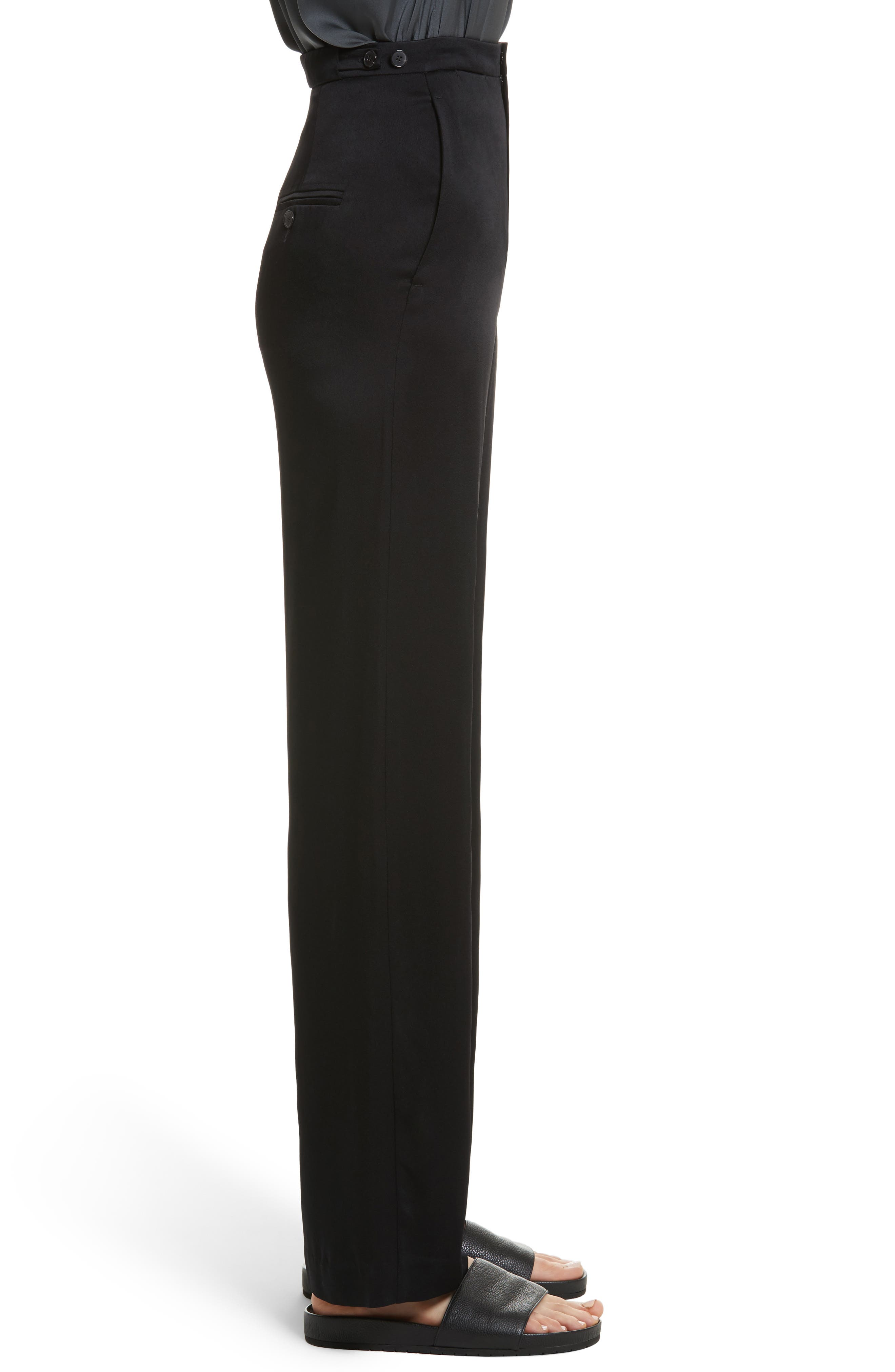 High Waisted Wide Leg Pants,                             Alternate thumbnail 3, color,                             001