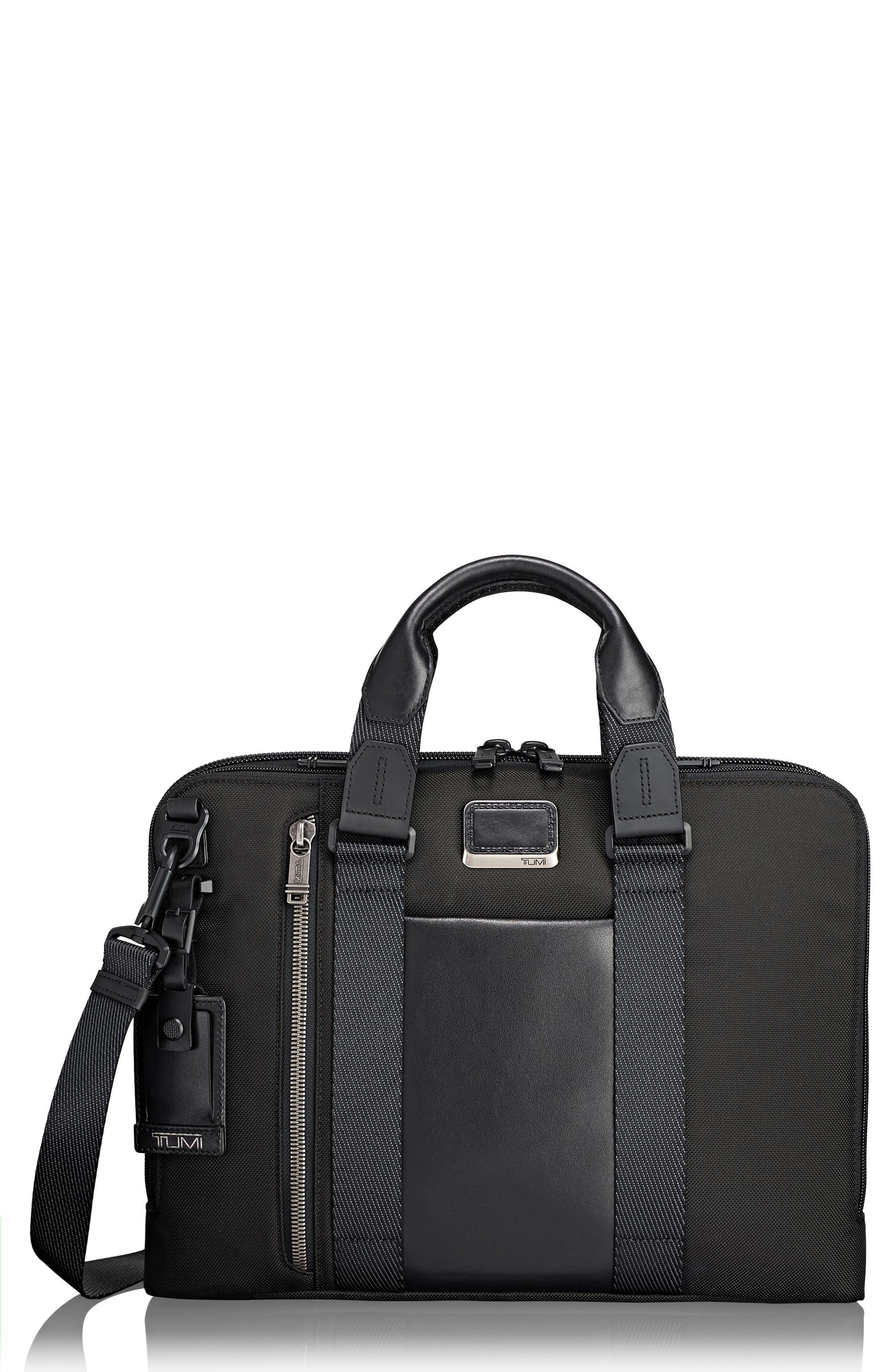 TUMI,                             Alpha Bravo - Aviano Slim Briefcase,                             Main thumbnail 1, color,                             BLACK