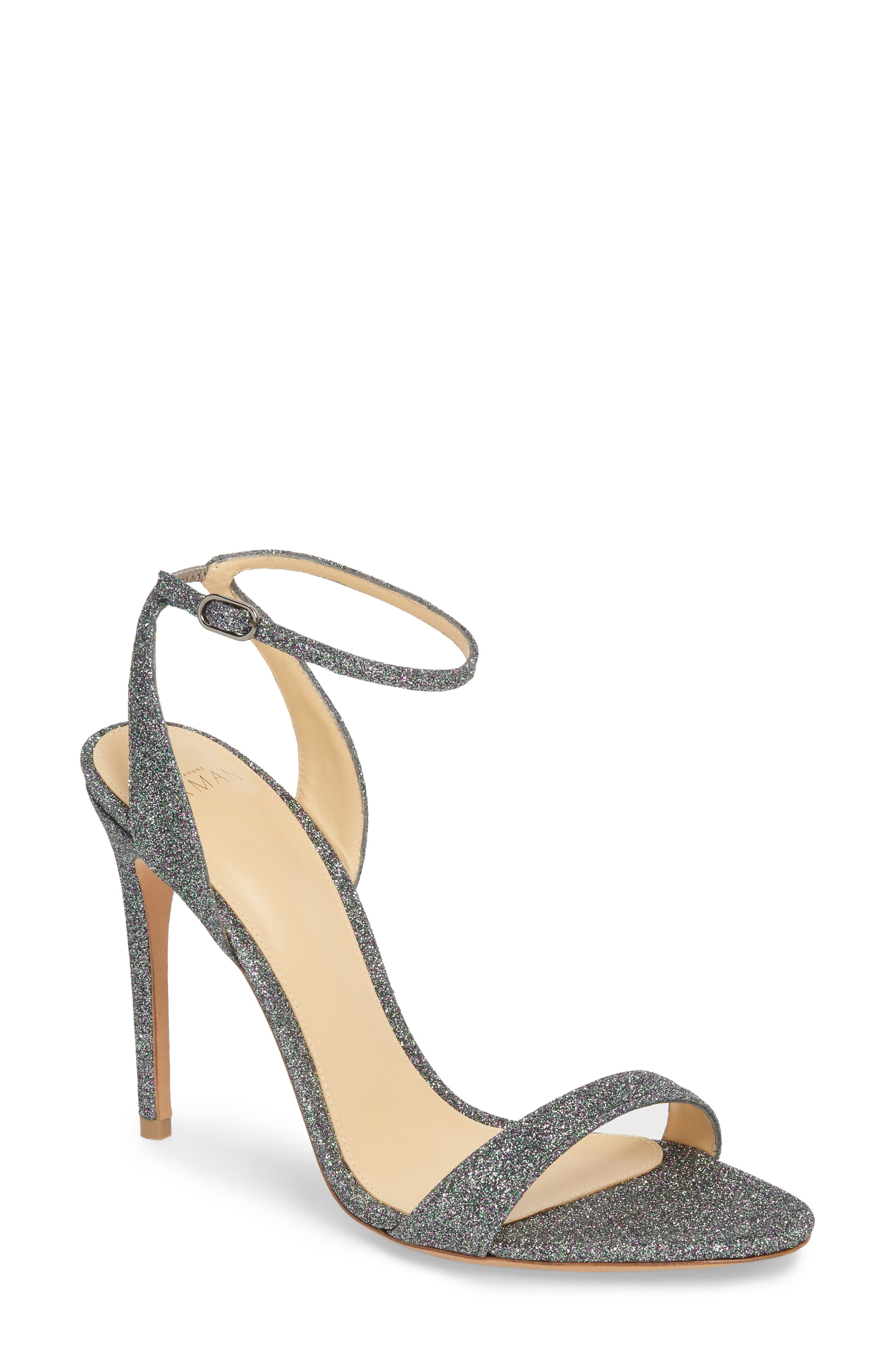 Santine Ankle Strap Sandal,                             Main thumbnail 1, color,                             SILVER