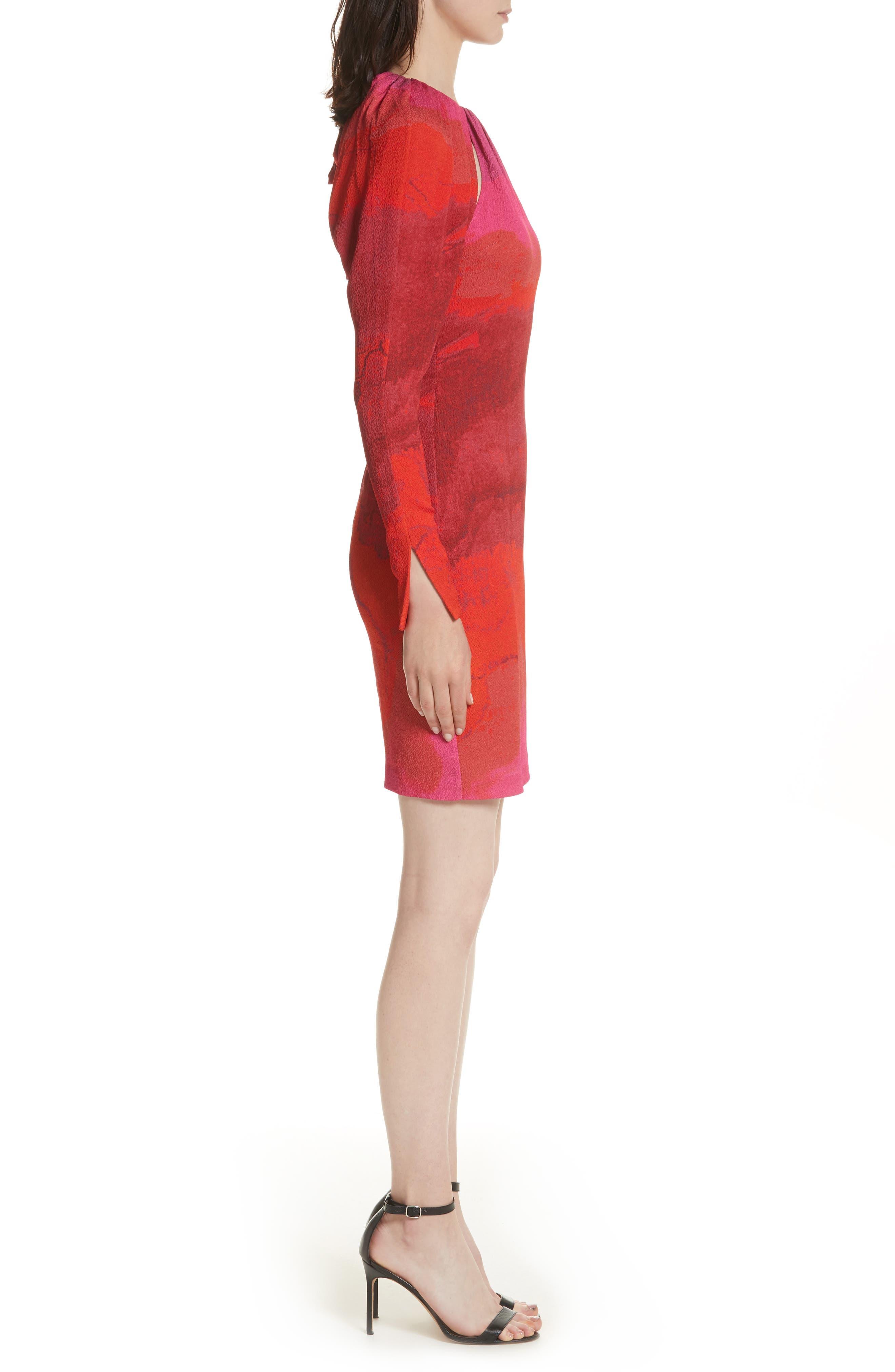 Abstract Print Stretch Silk Sheath Dress,                             Alternate thumbnail 3, color,                             605