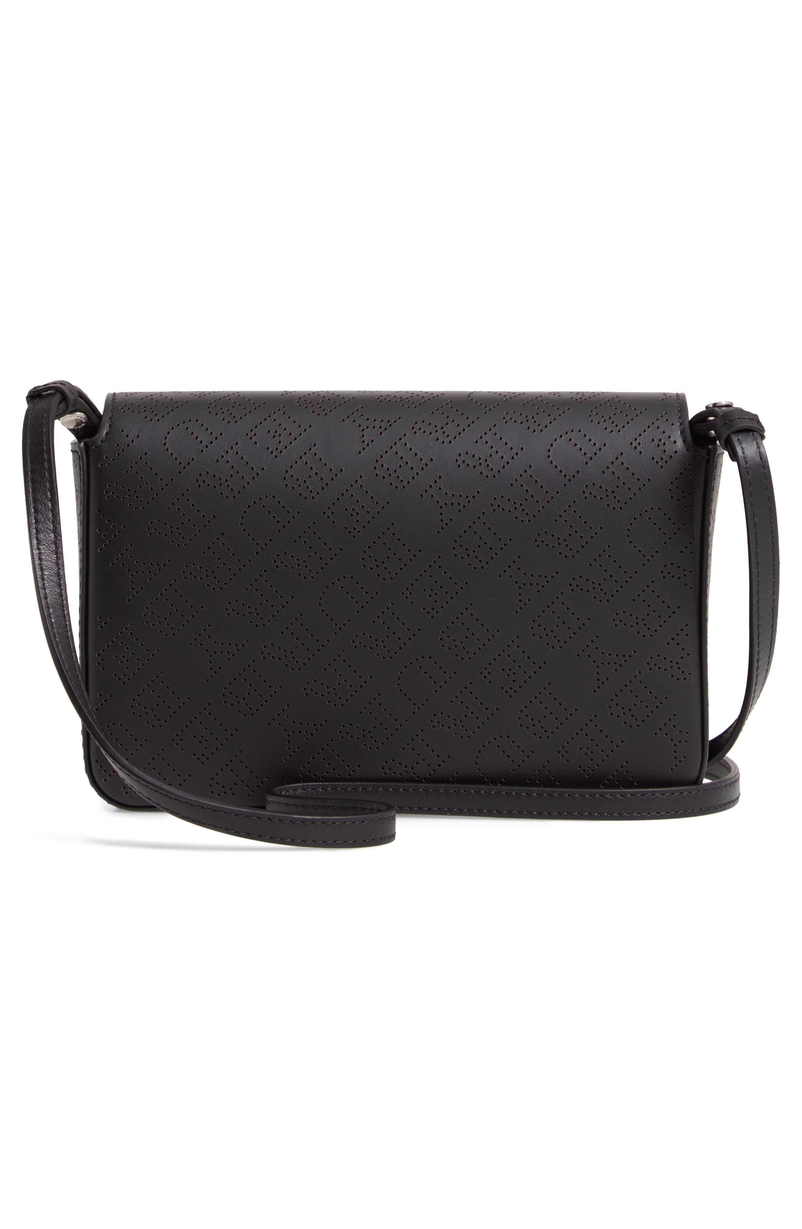 Hampshire Perforated Leather Crossbody Bag,                             Alternate thumbnail 3, color,                             BLACK