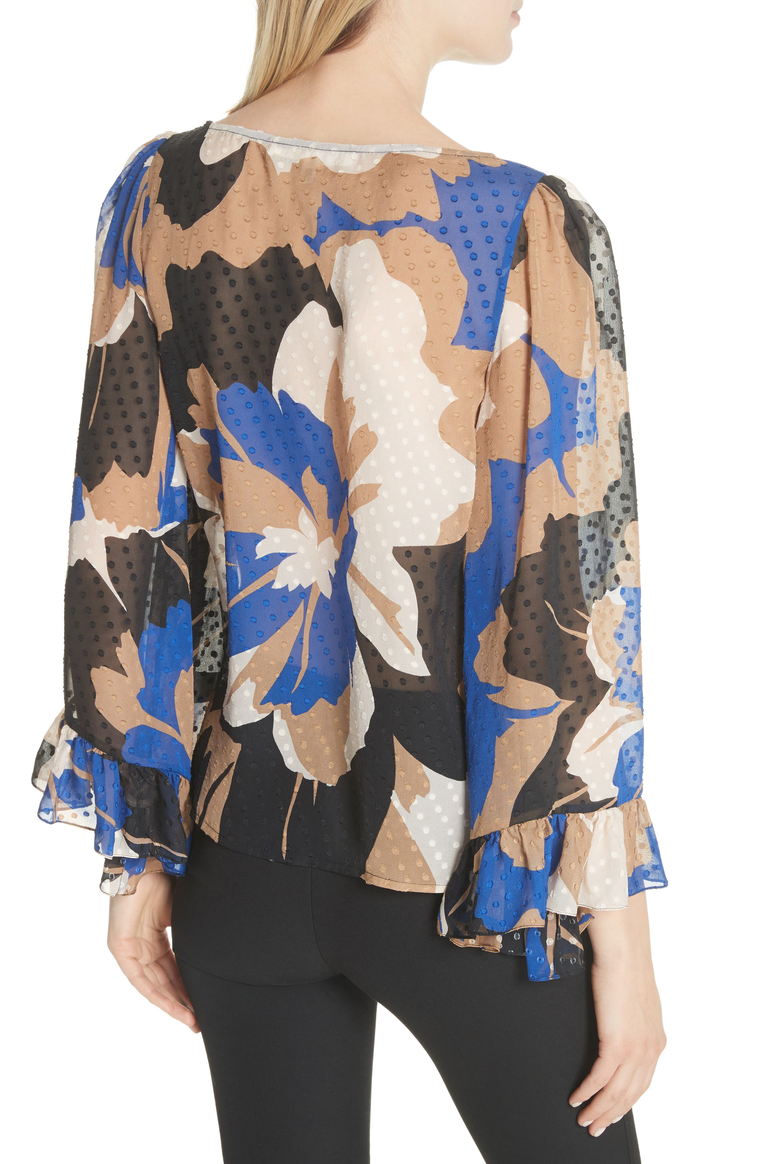 Flounced Silk Top,                             Alternate thumbnail 2, color,                             401
