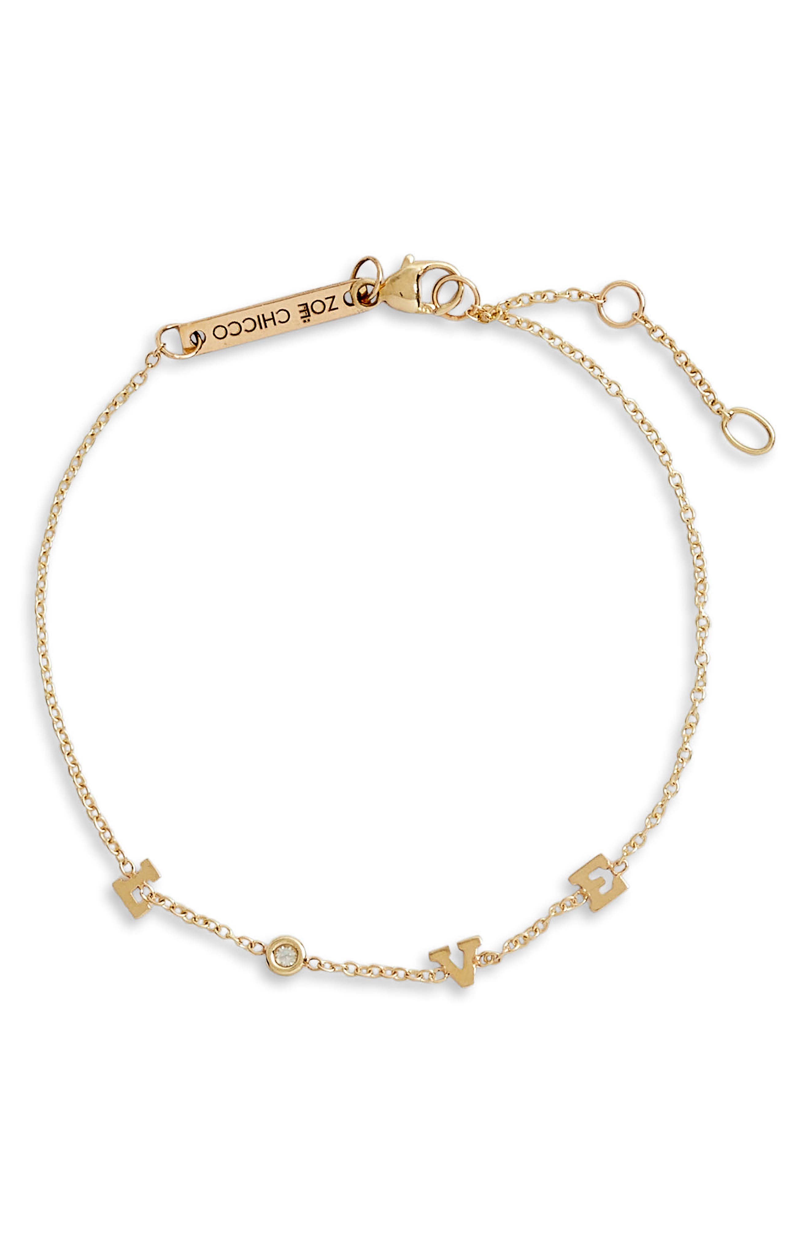 Tiny Diamond Love Station Bracelet,                             Main thumbnail 1, color,                             YELLOW GOLD