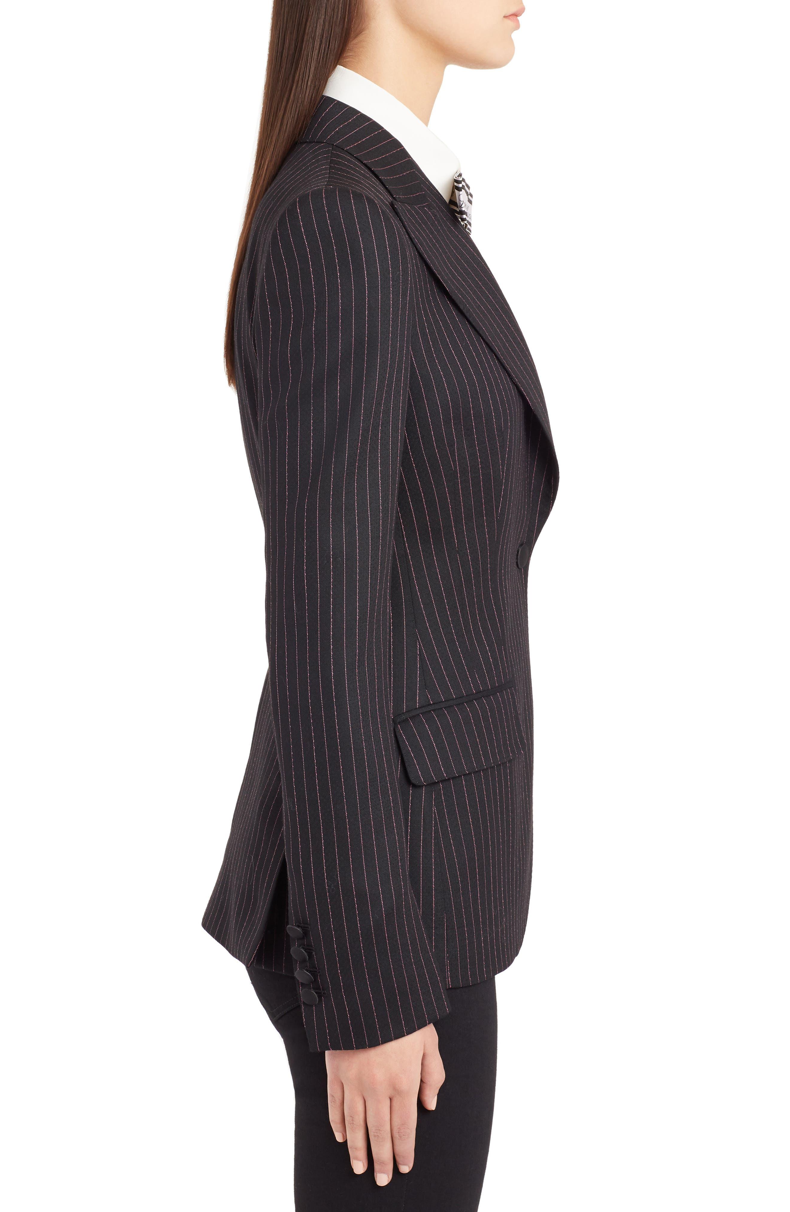 Pinstripe Stretch Wool Jacket,                             Alternate thumbnail 3, color,                             BLACK
