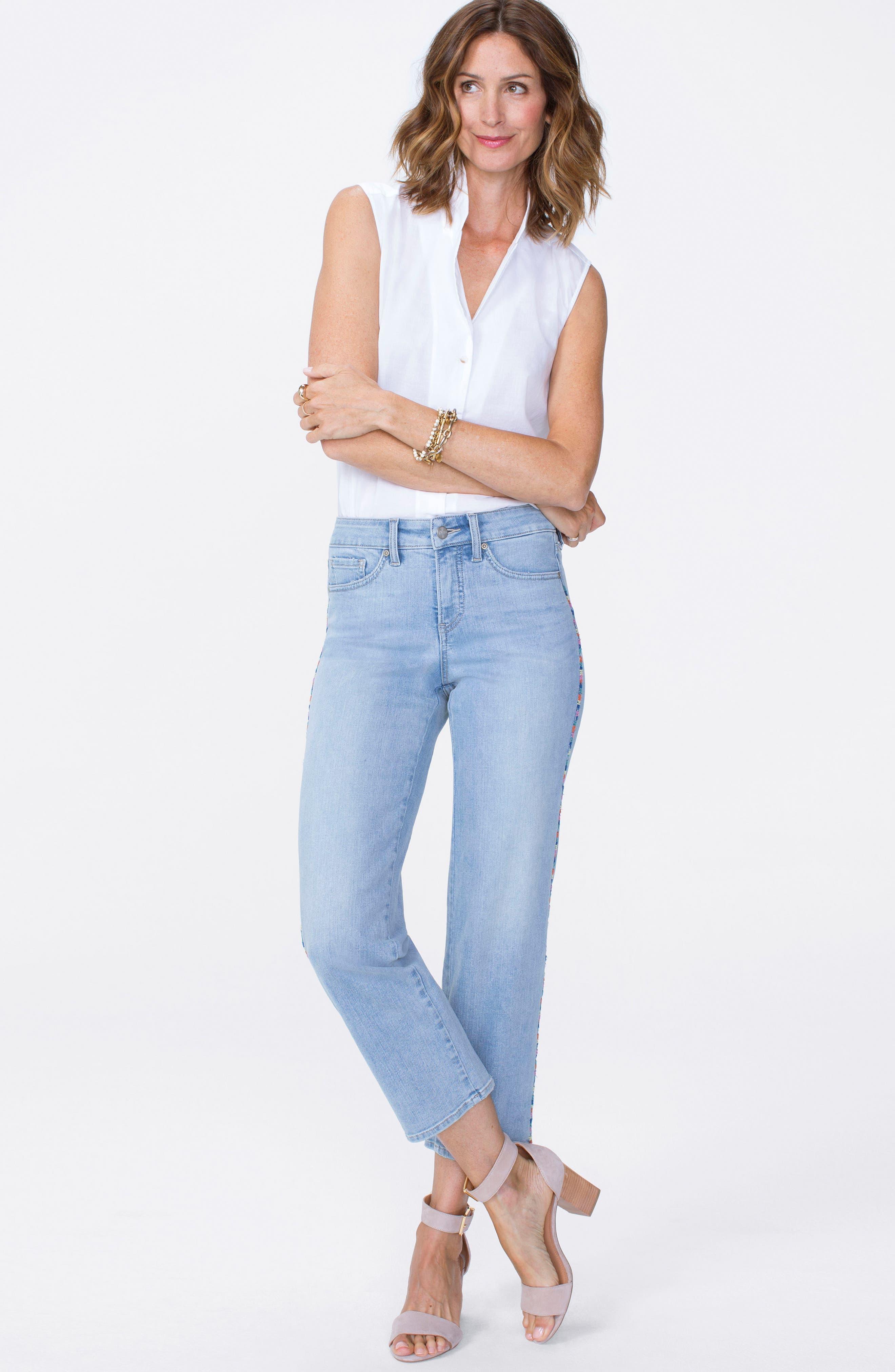 Jenna High Waist Embroidered Seam Ankle Straight Leg Jeans,                             Alternate thumbnail 5, color,                             423