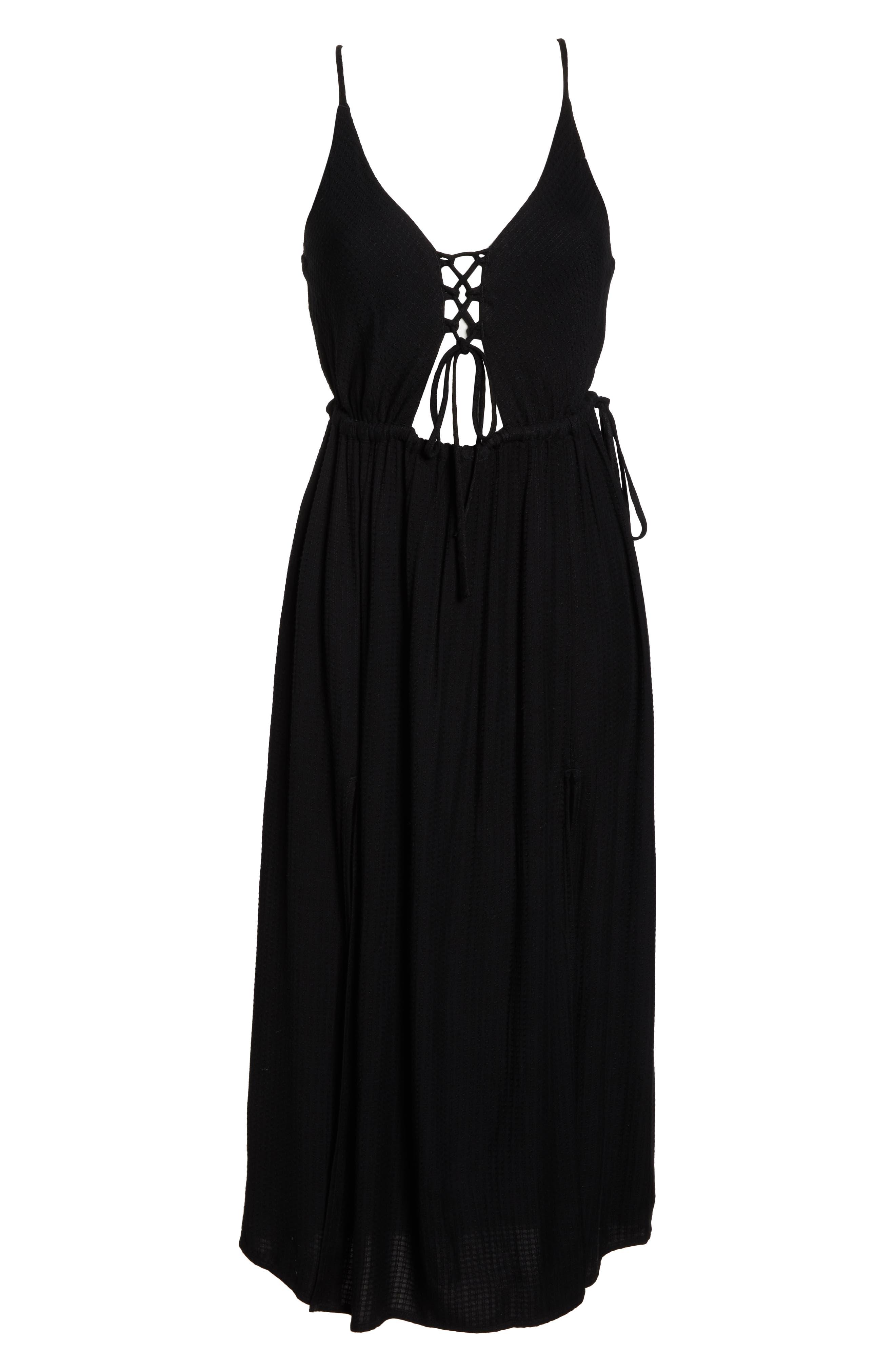 Cory Open Back Cover-Up Midi Dress,                             Alternate thumbnail 6, color,                             BLACK