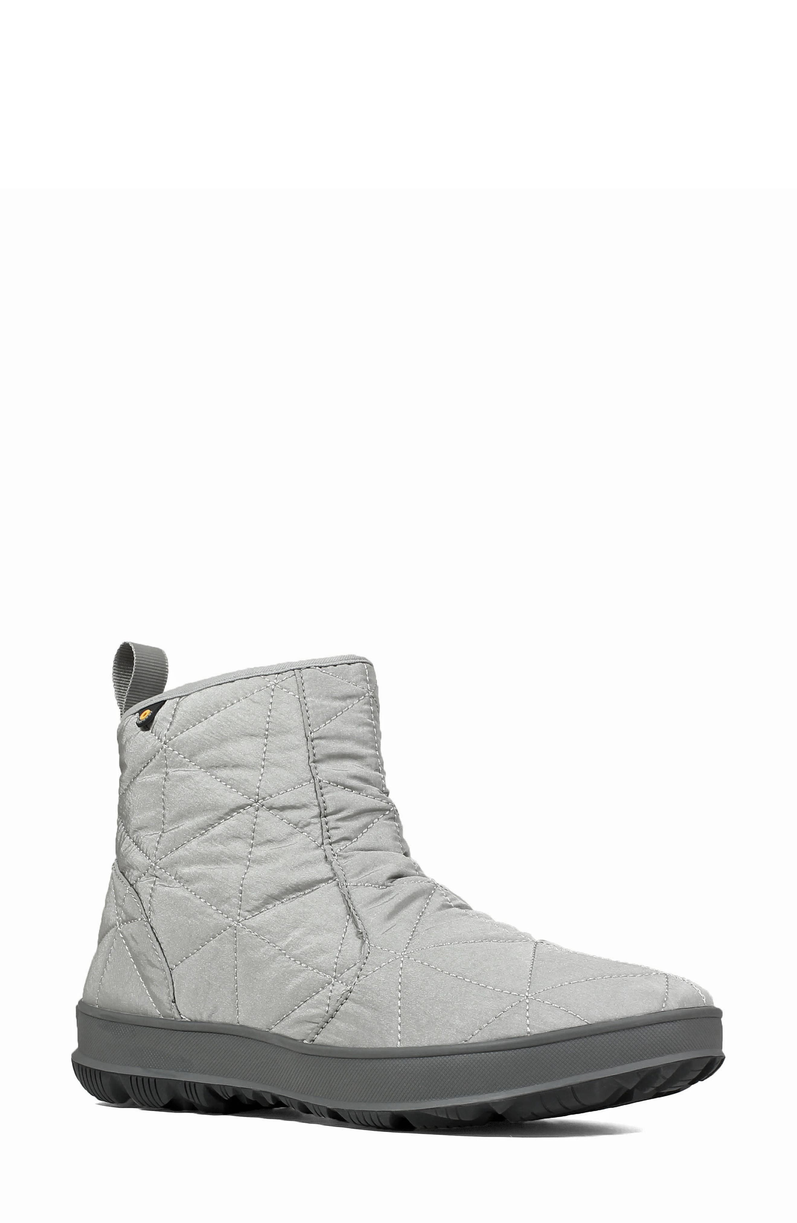 Bogs Snowday Waterproof Quilted Snow Boot, Grey