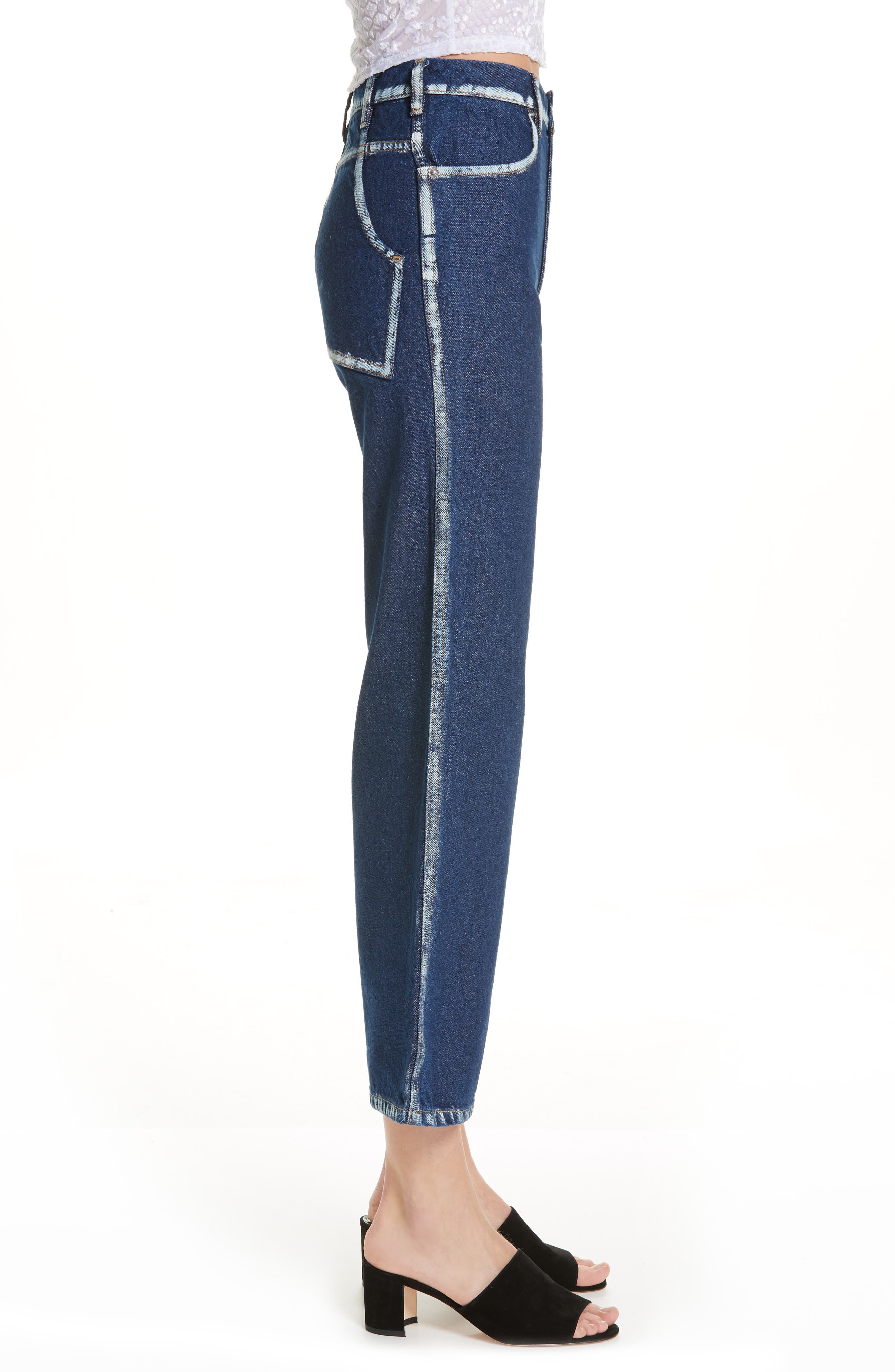EL Painted Seam Wide Leg Jeans,                             Alternate thumbnail 3, color,                             BLUE SEAM PAINTING