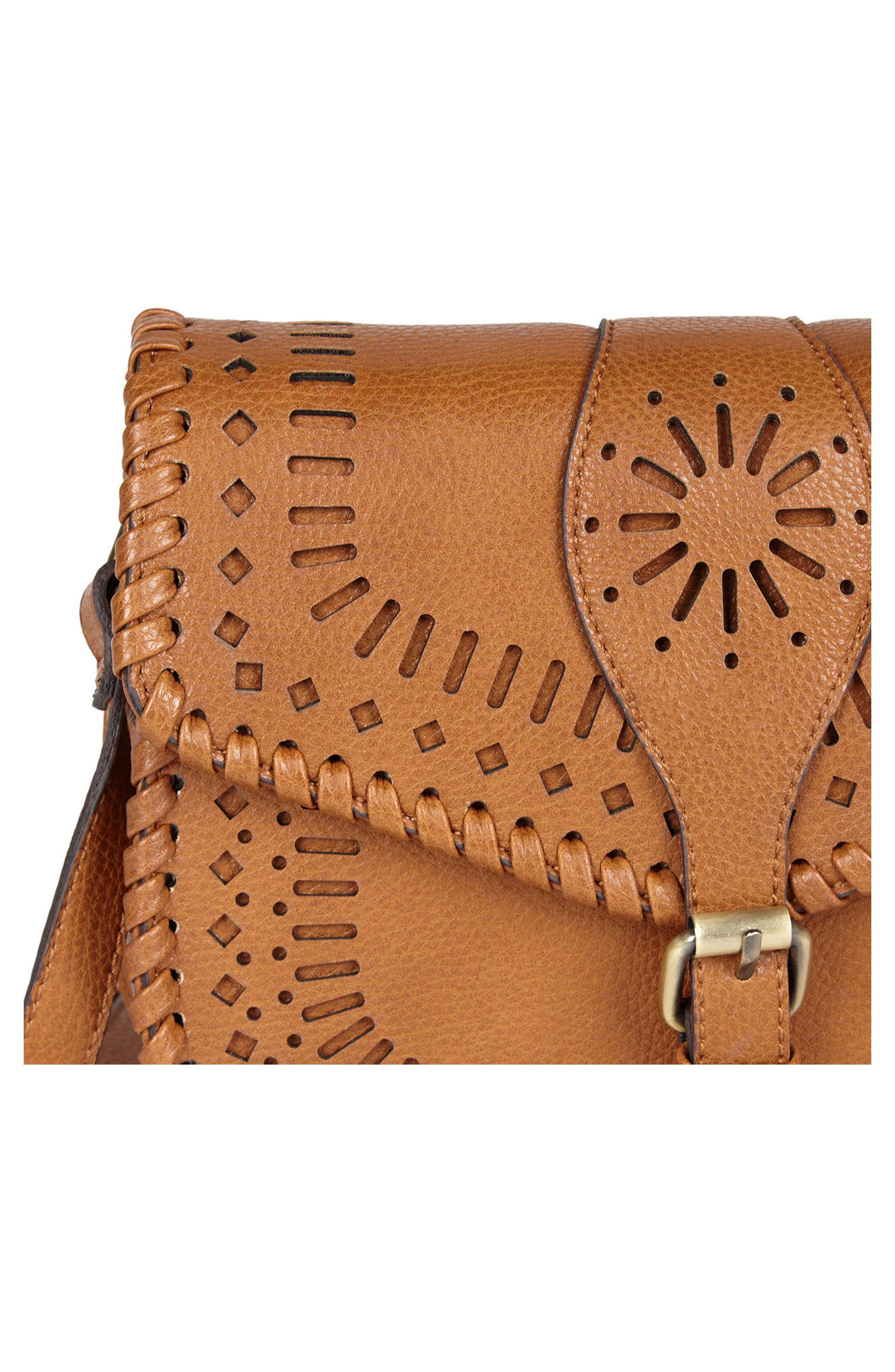 'Kianna' Perforated Faux Leather Crossbody Bag,                             Alternate thumbnail 8, color,