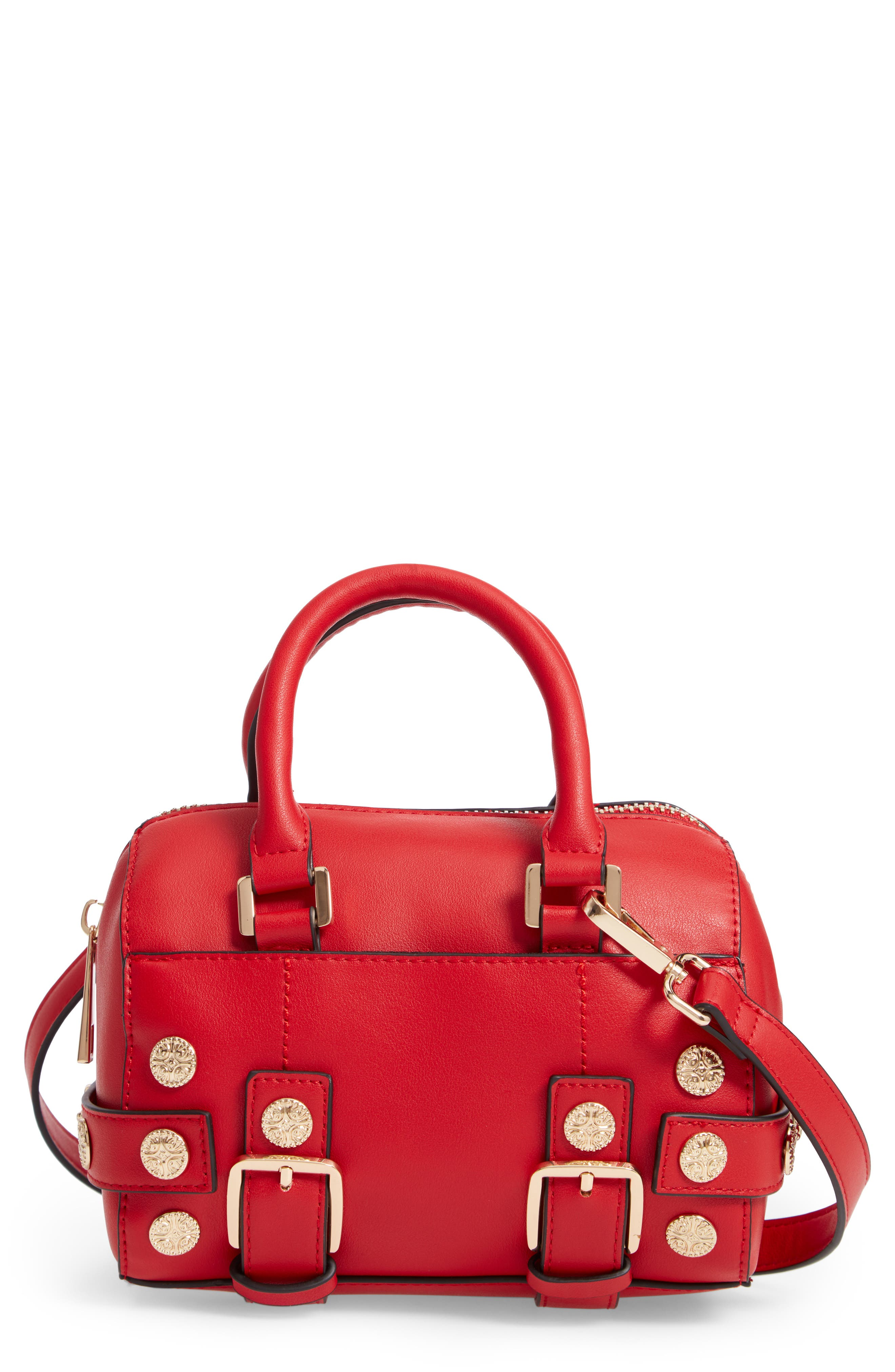 Bianca Studded Faux Leather Bowler Bag,                             Main thumbnail 1, color,                             RED MULTI