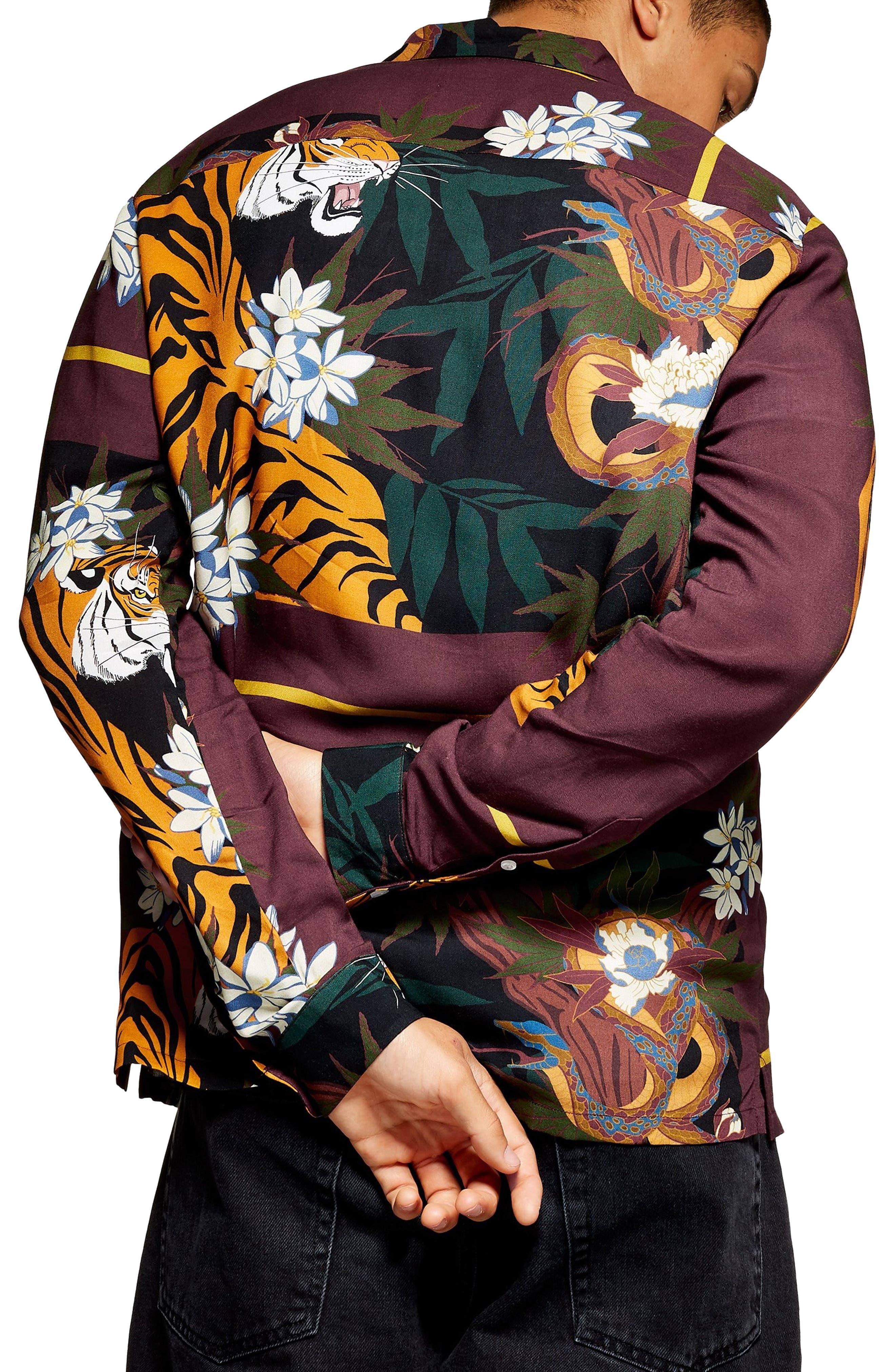 Tiger Snake Print Shirt,                             Alternate thumbnail 2, color,                             BURGUNDY MULTI
