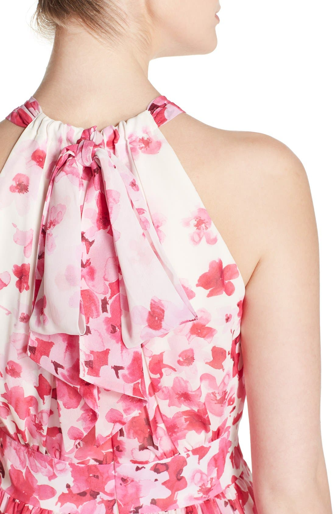 Print Pleated Chiffon Maxi Dress,                             Alternate thumbnail 5, color,                             660