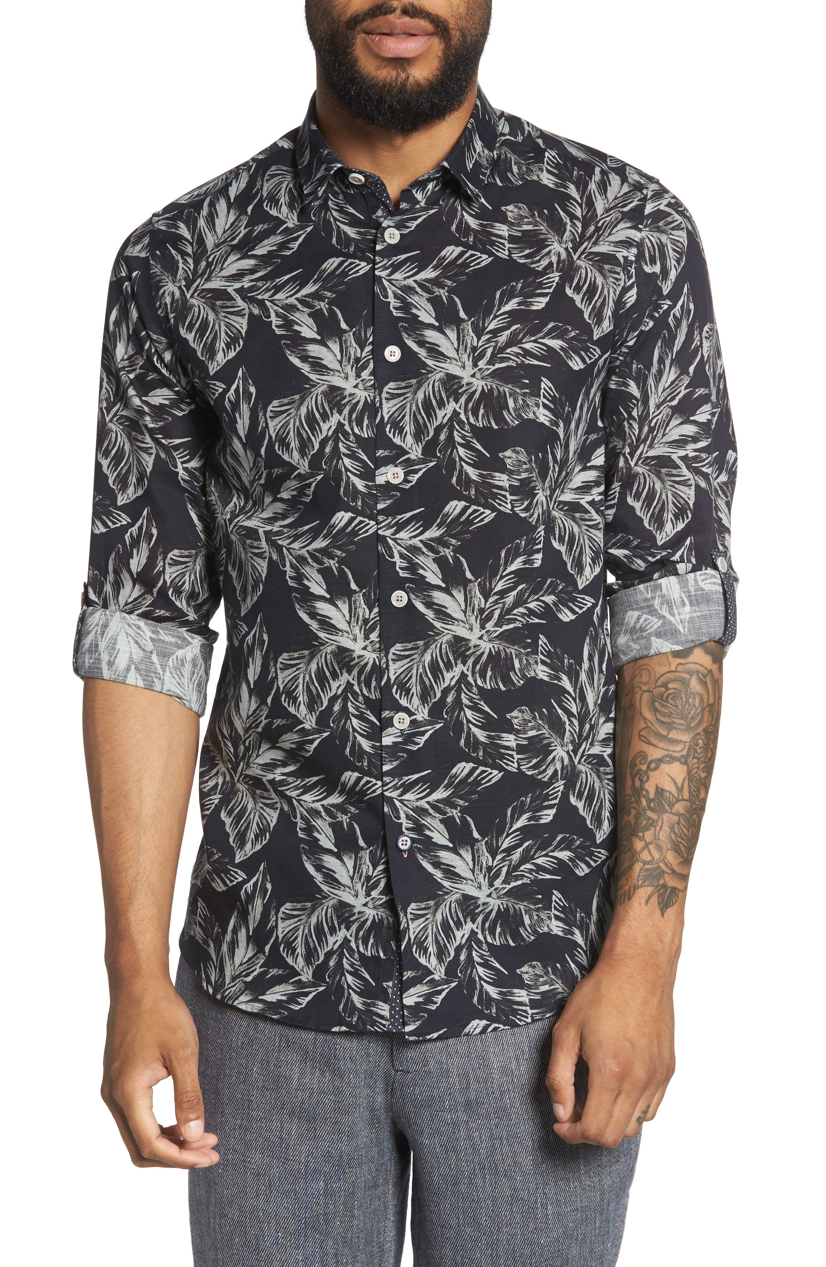 Rinnie Trim Fit Leaf Print Sport Shirt,                         Main,                         color, NAVY