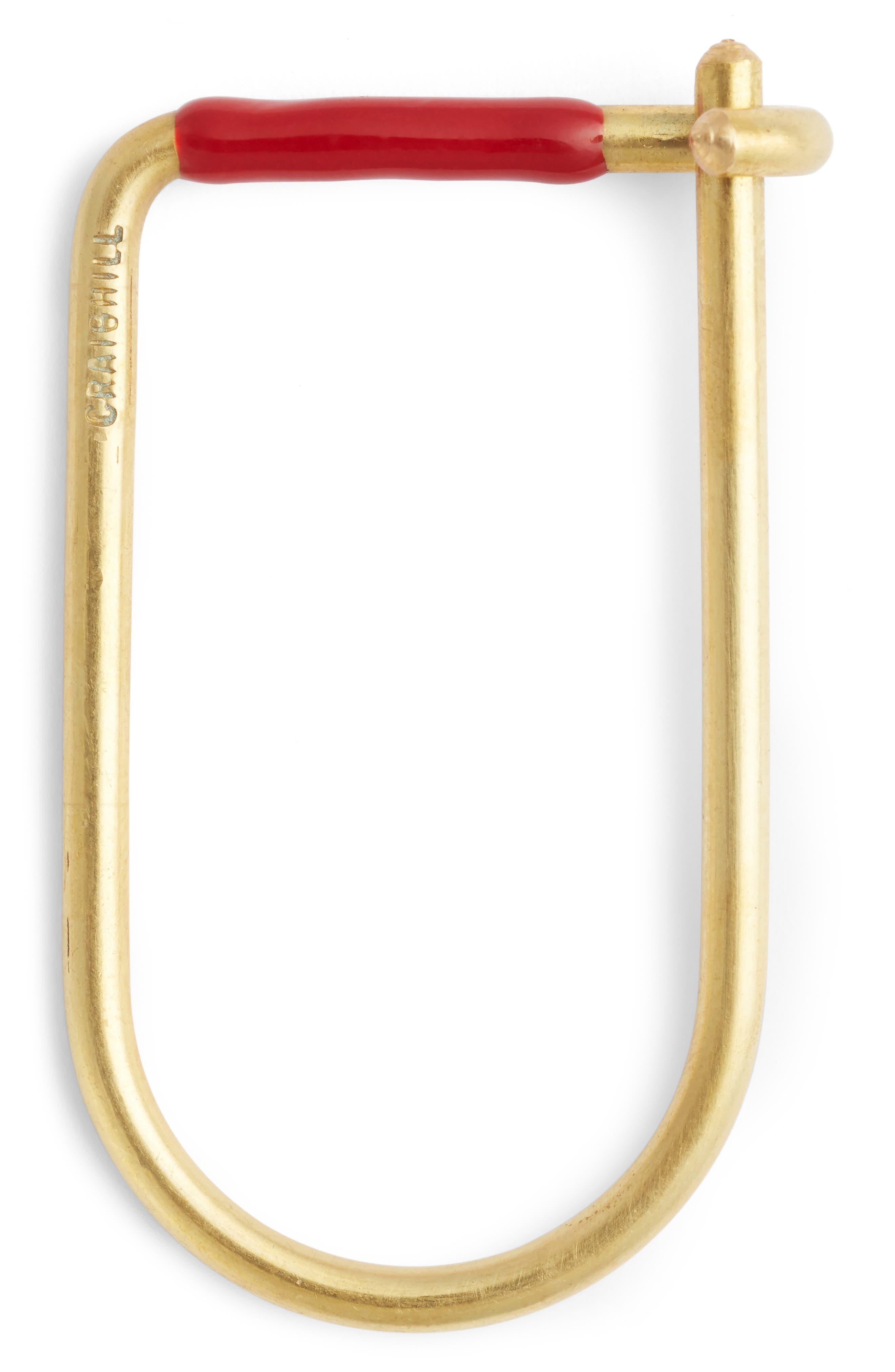 Wilson Enameled Brass Key Ring,                             Main thumbnail 4, color,
