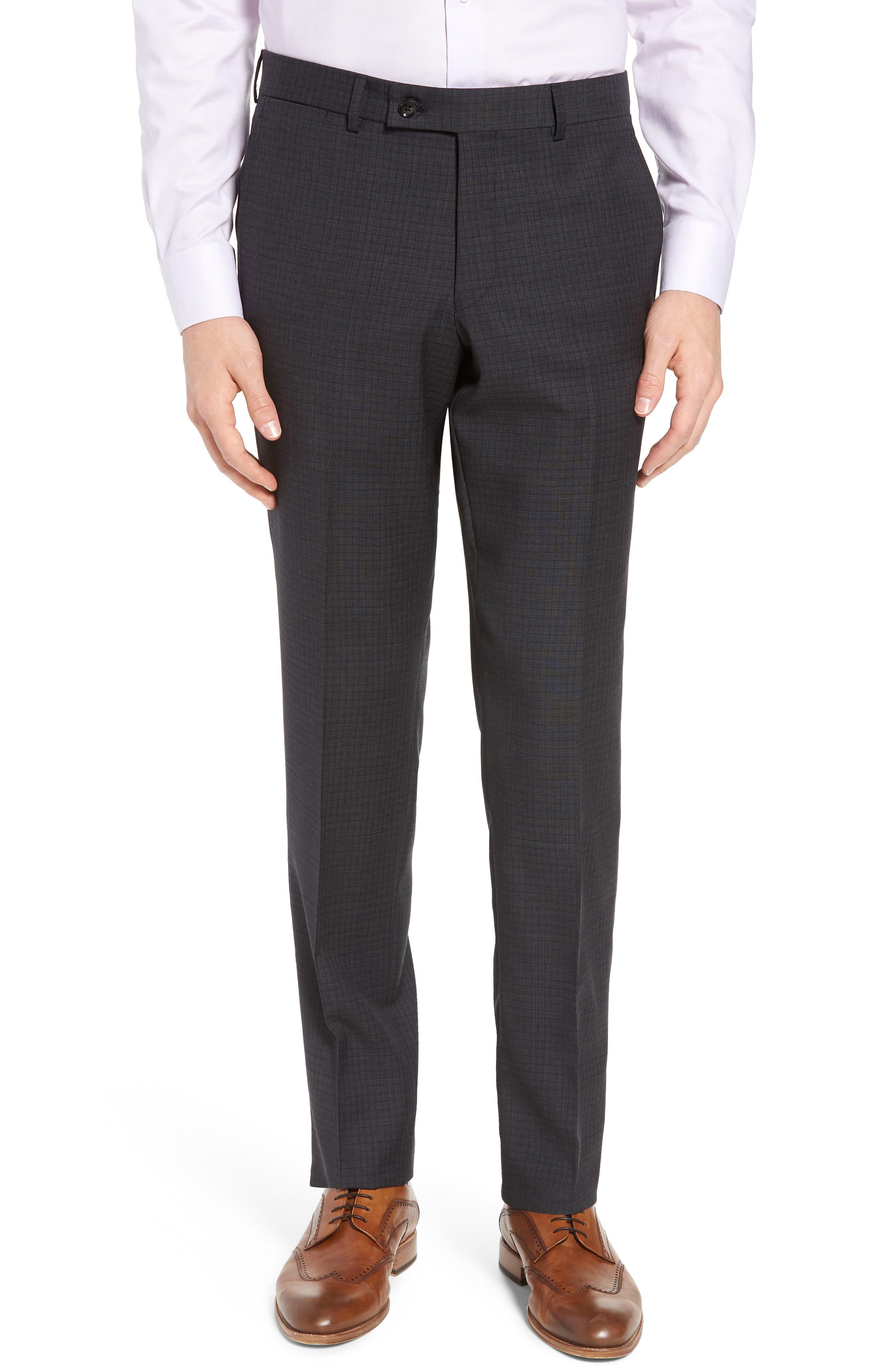 Jay Trim Fit Check Wool Suit,                             Alternate thumbnail 6, color,                             020