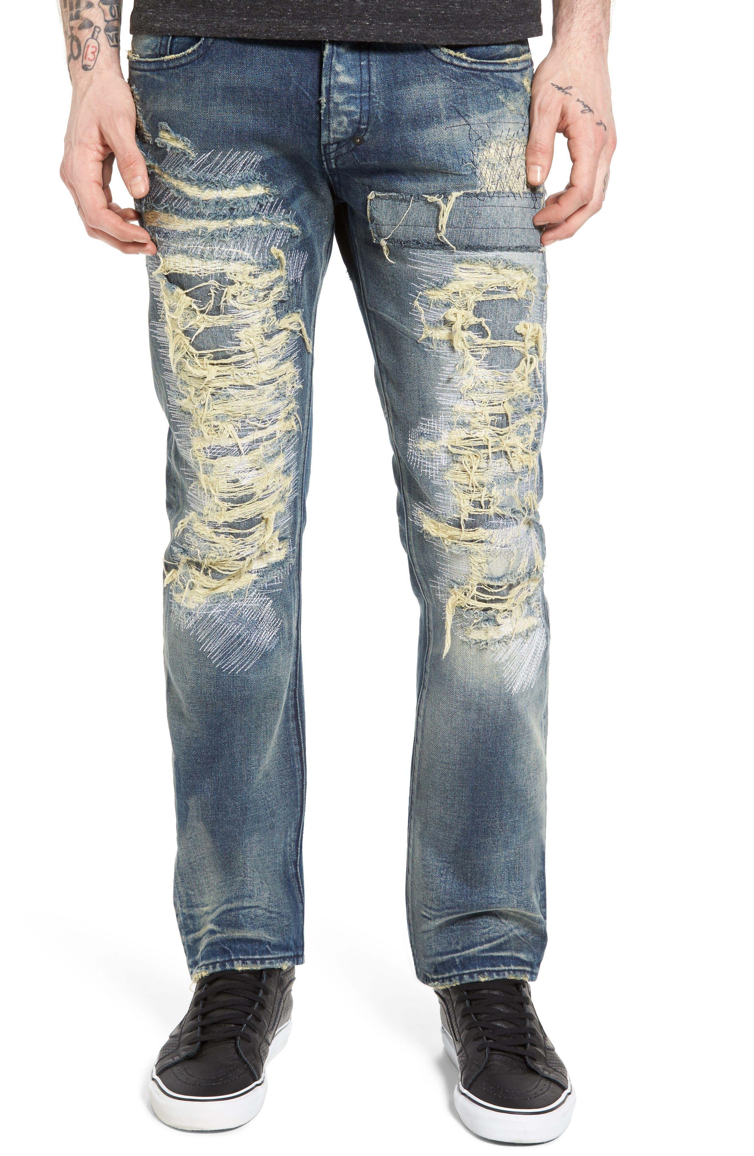 PRPS Demon Slim Straight Jeans, Main, color, INDIGO BLUE