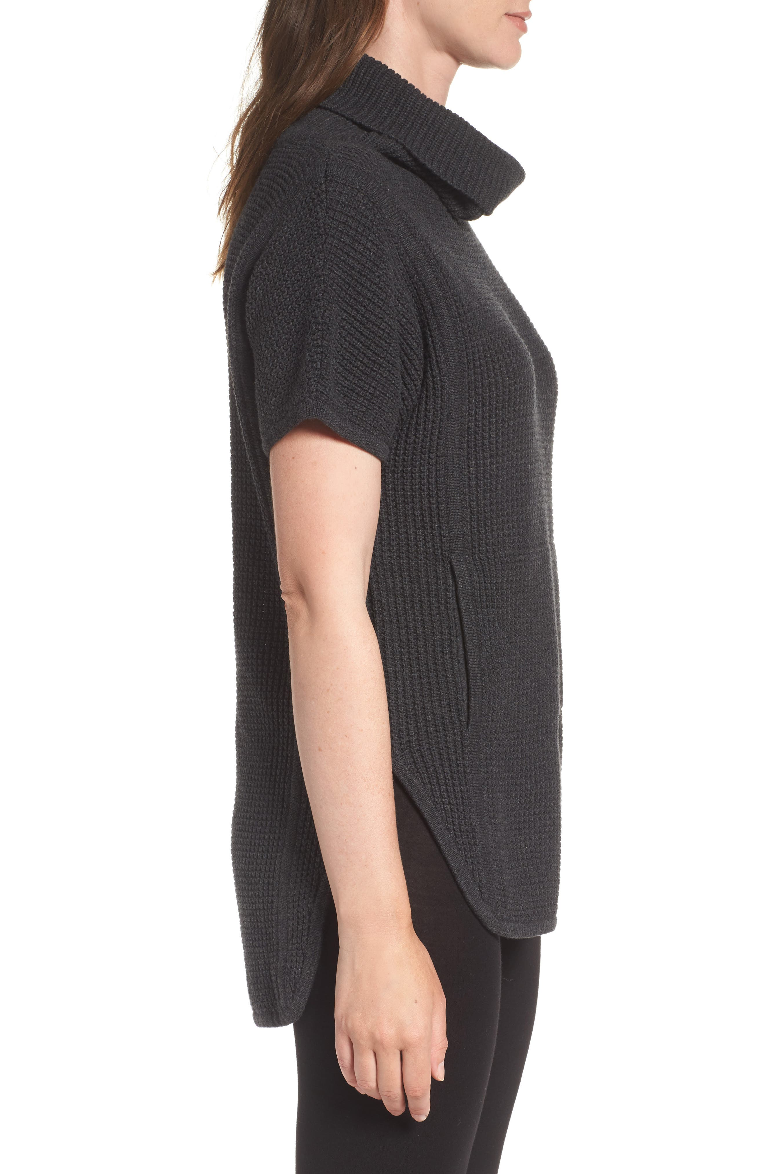 'Selby' Turtleneck Cotton Knit Pullover,                             Alternate thumbnail 3, color,                             001
