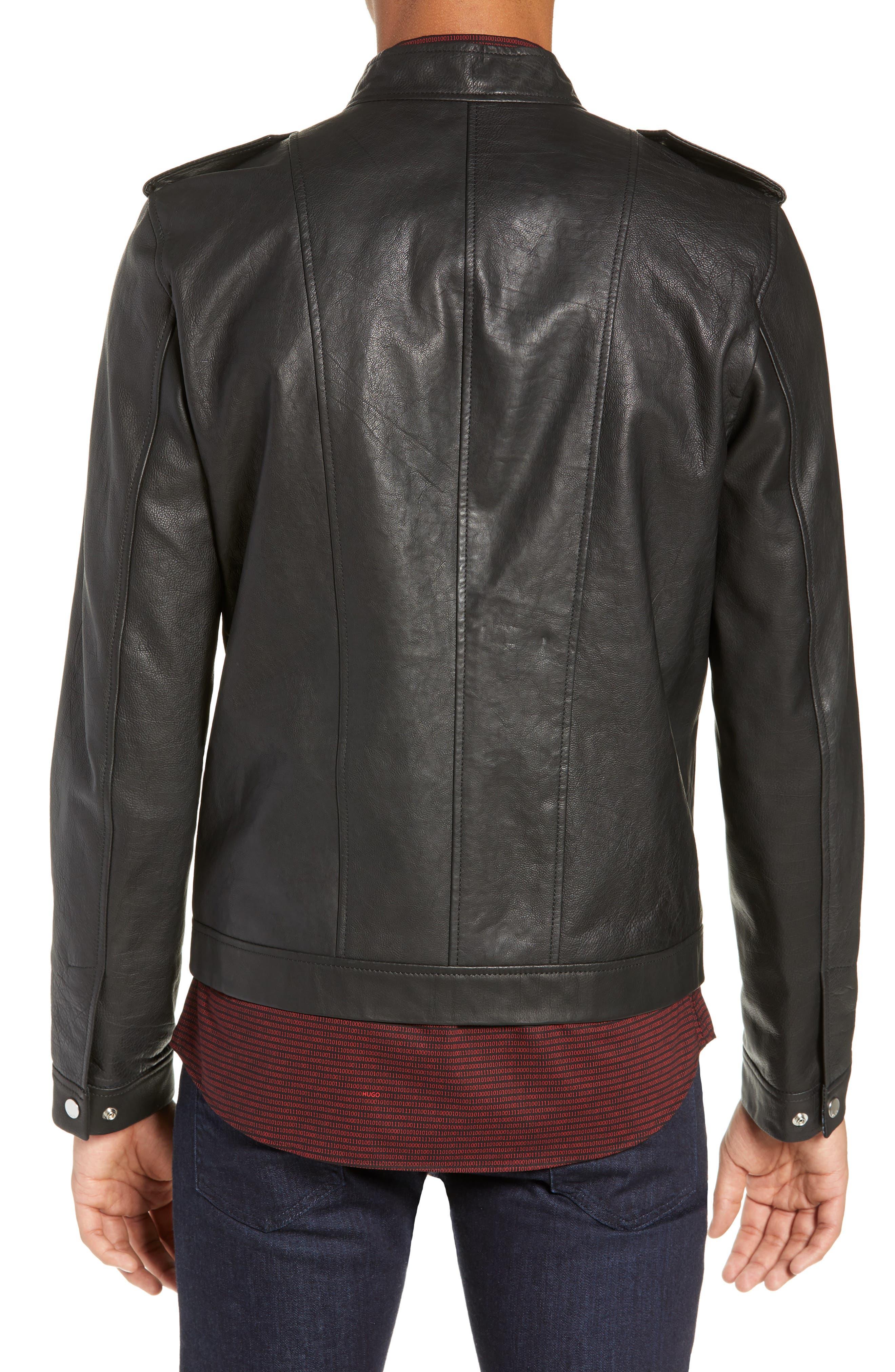 Lector Slim Leather Jacket,                             Alternate thumbnail 2, color,                             BLACK