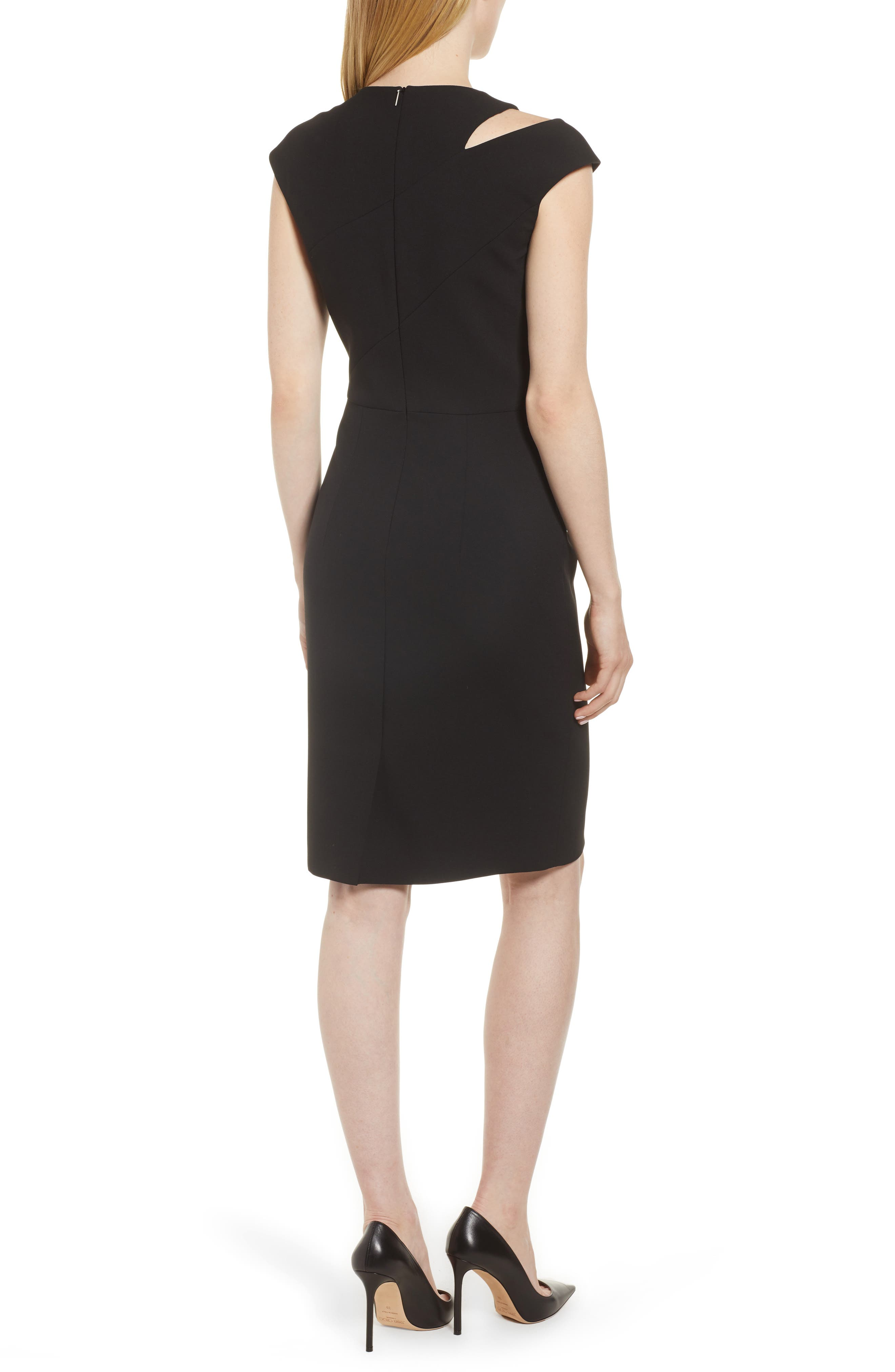 BOSS,                             Danouk Shoulder Cutout Dress,                             Alternate thumbnail 2, color,                             001