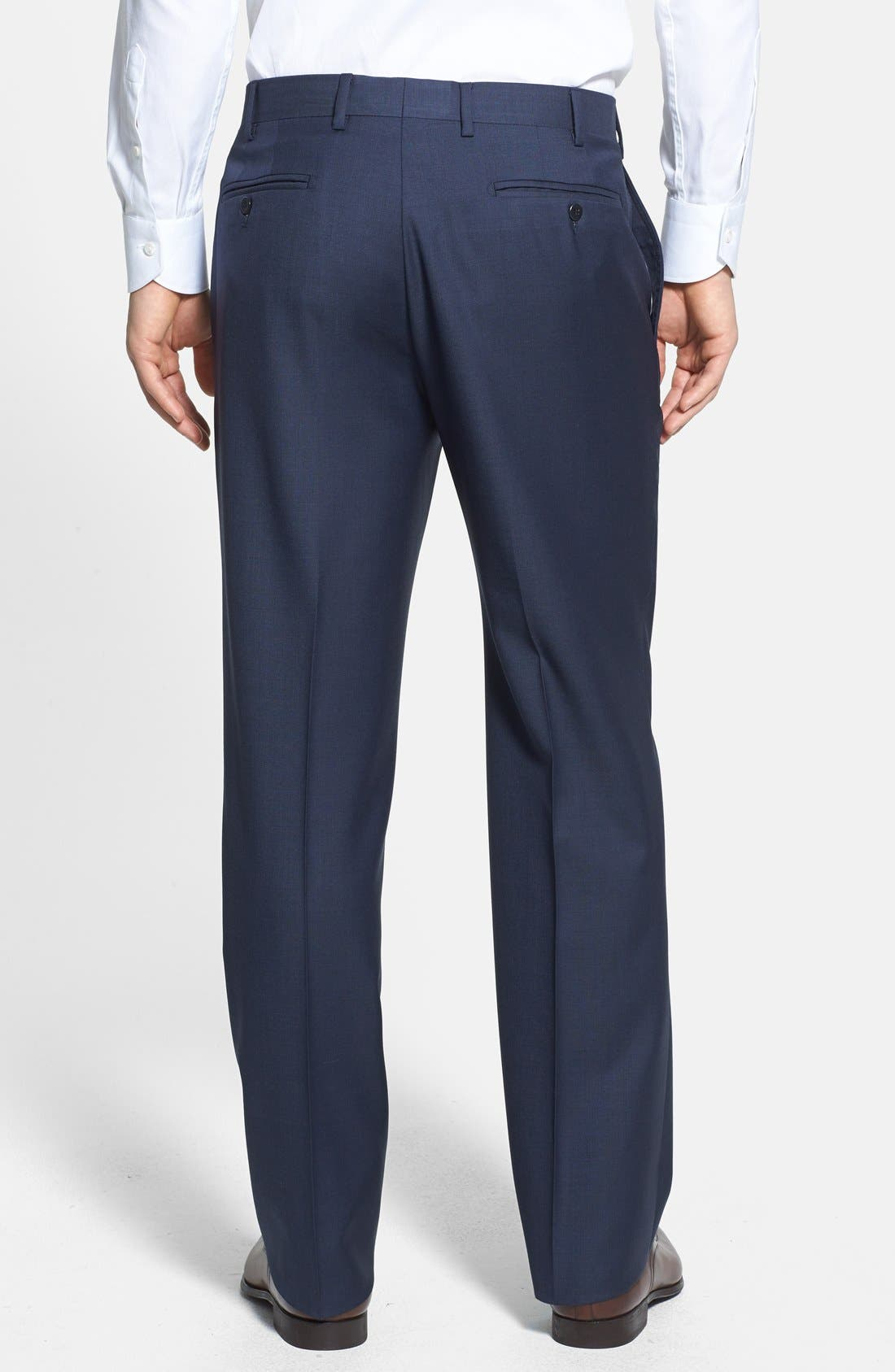 'Devon' Flat Front Wool Trousers,                             Alternate thumbnail 15, color,