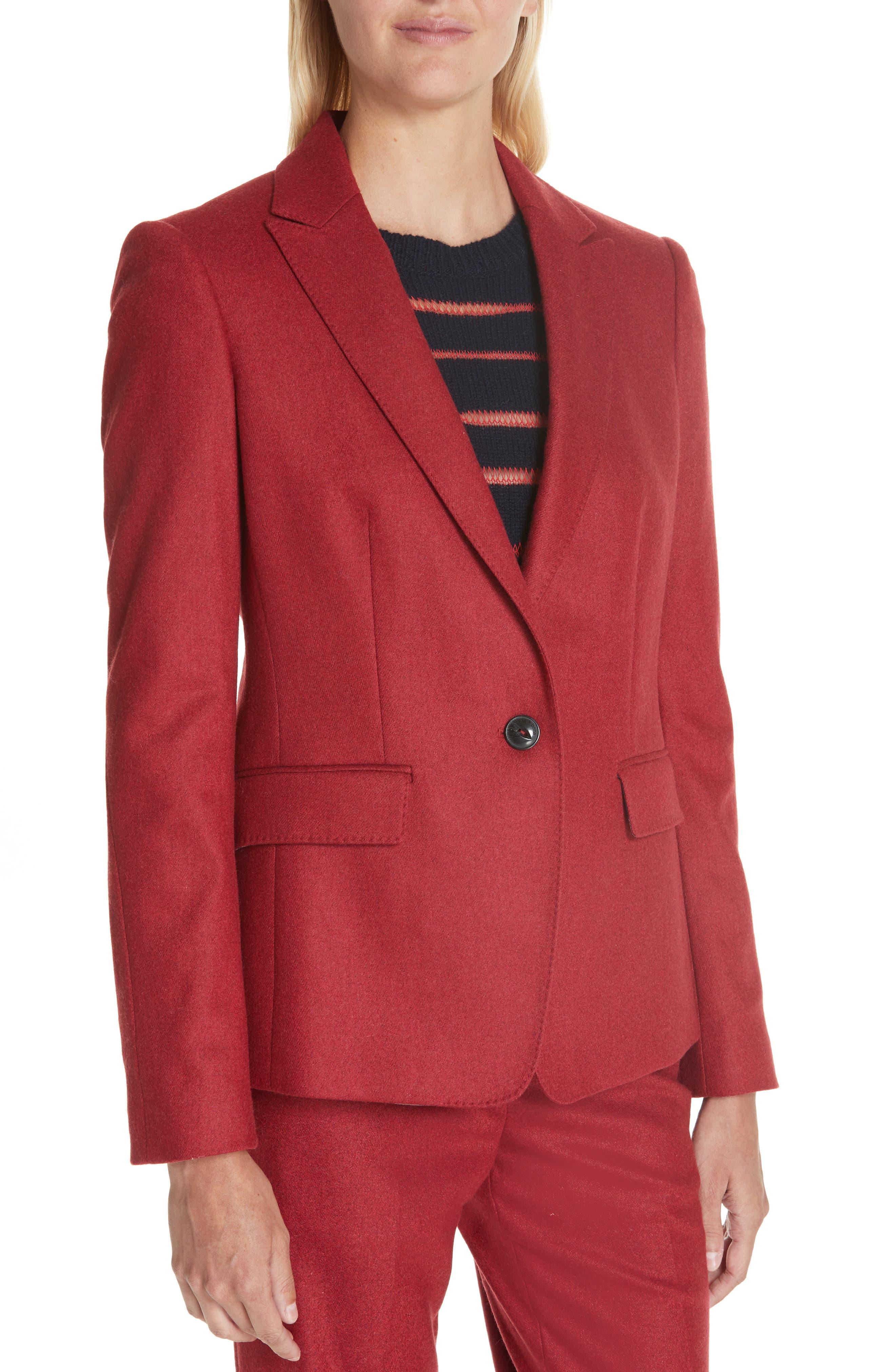 Lexington Wool Blend Blazer,                             Alternate thumbnail 3, color,                             RED MELANGE