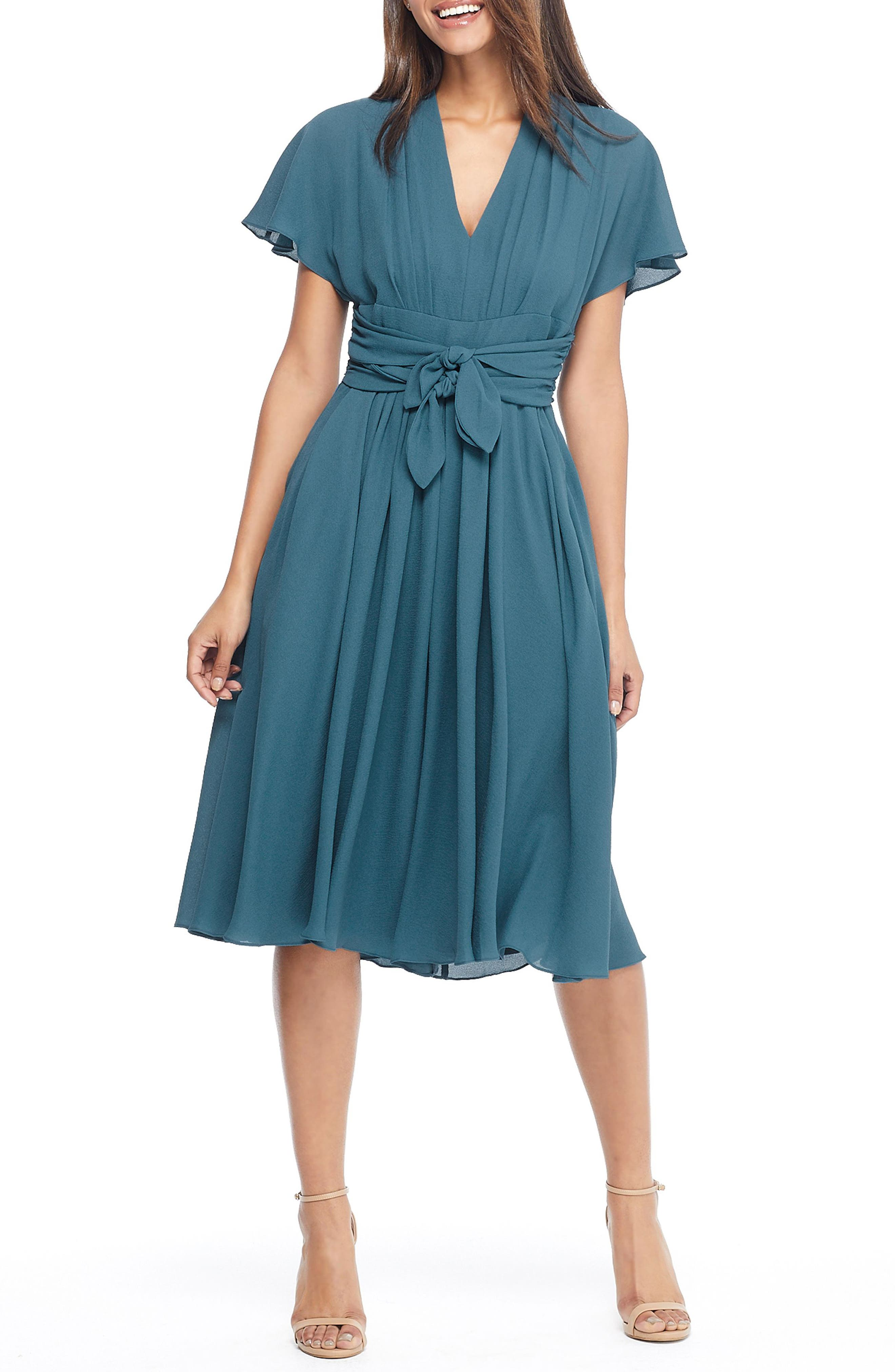 Gal Meets Glam Collection Jane Tie Waist Midi Dress, 8 (similar to 1) - Blue