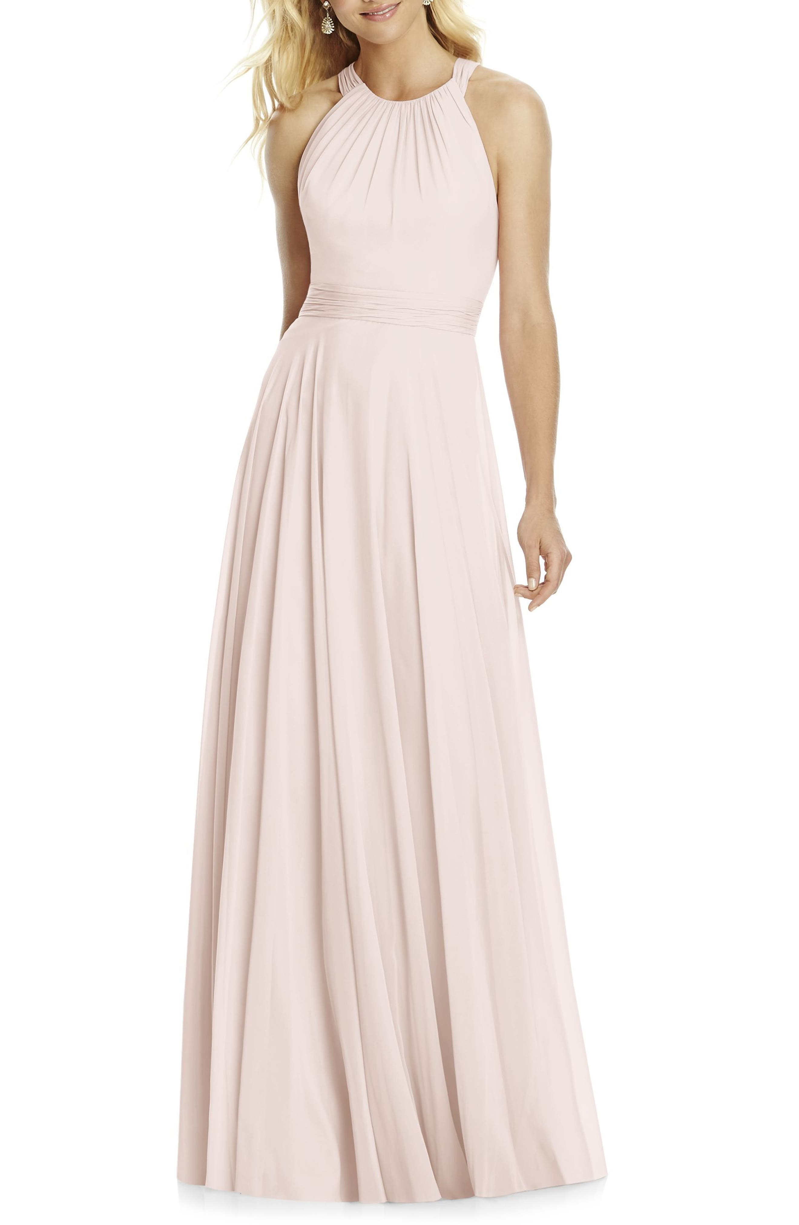 Chiffon A-Line Gown,                         Main,                         color, BLUSH