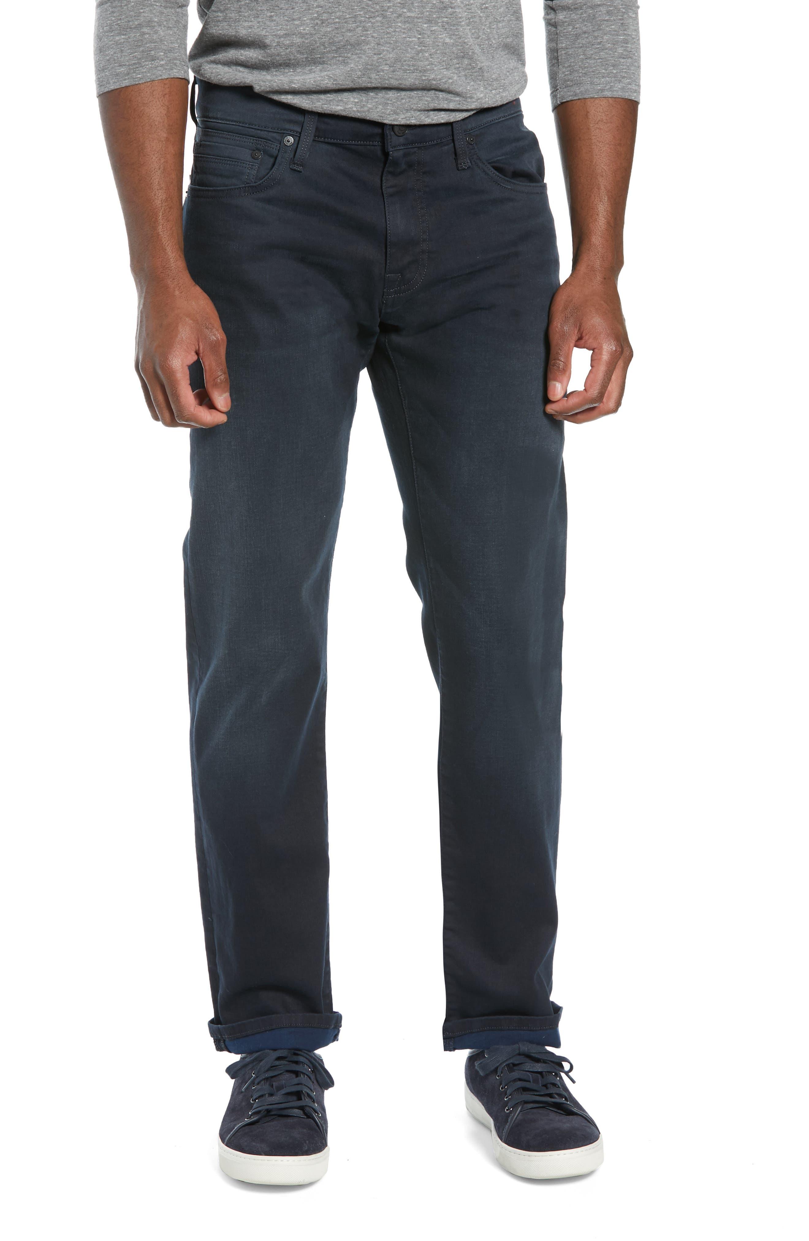 MAVI JEANS Zach Straight Leg Jeans in Blue Black Reversed