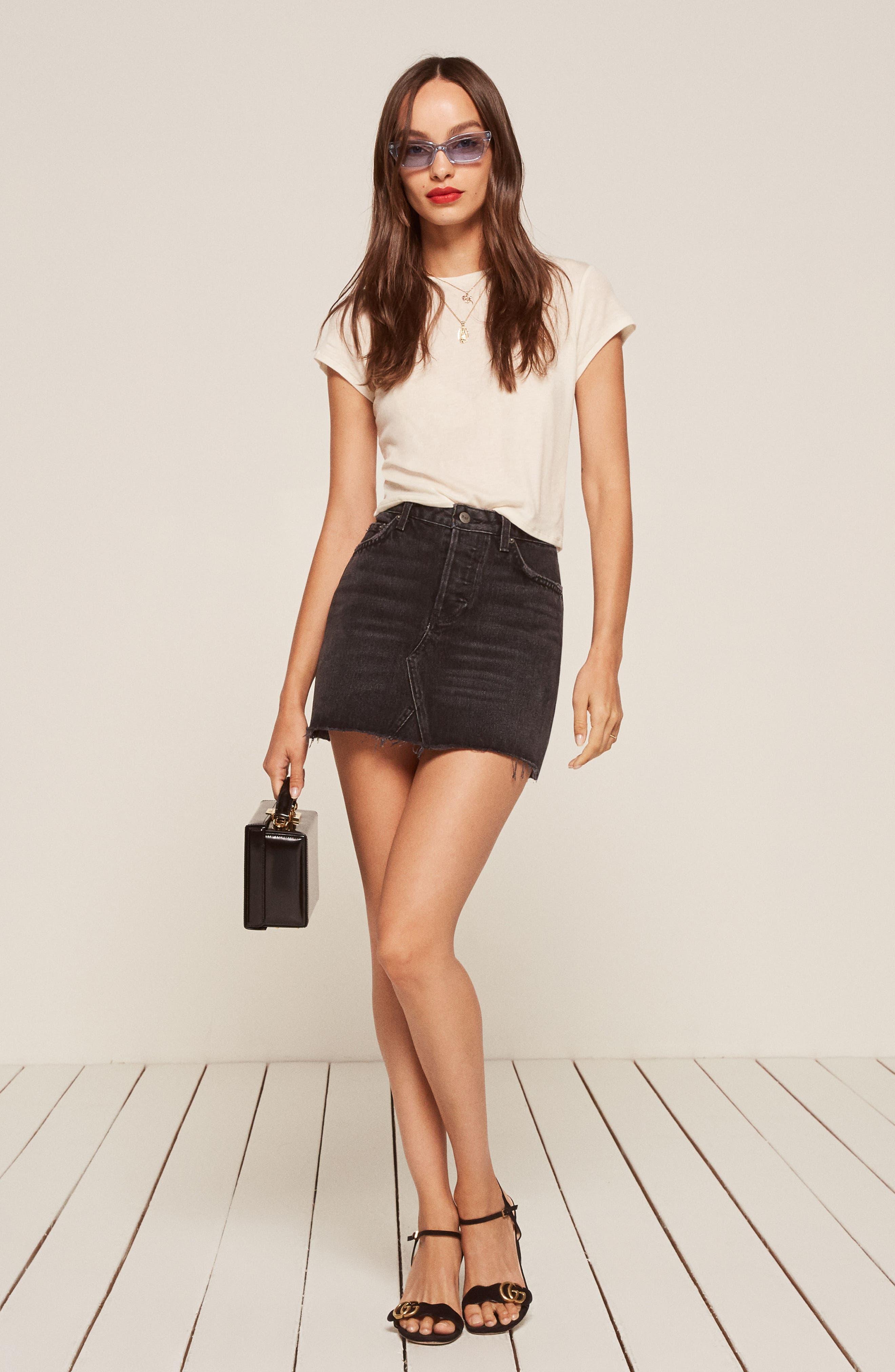 Retooled Denim Miniskirt,                             Alternate thumbnail 5, color,                             001