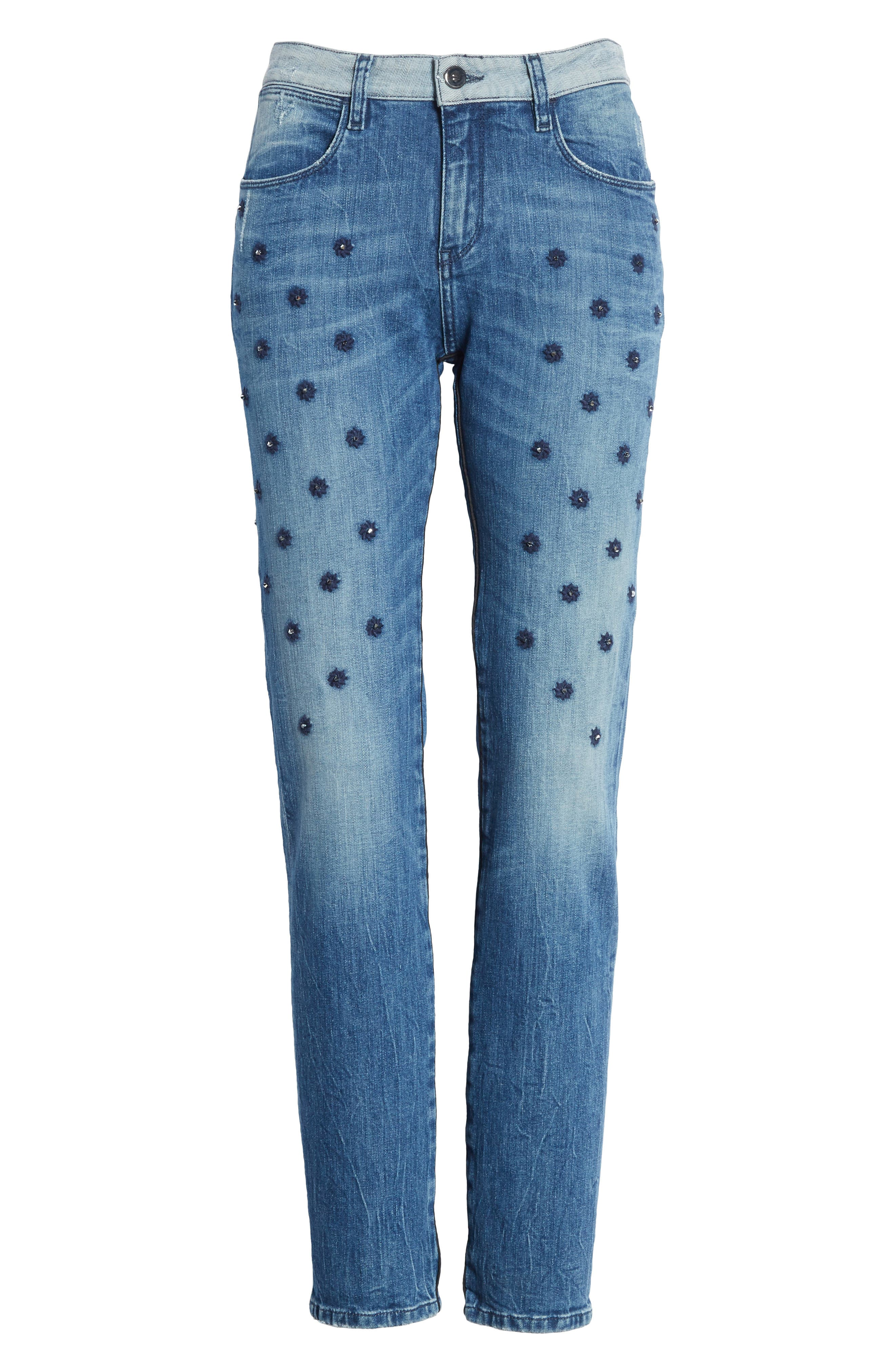 Embellished Boyfriend Jeans,                             Alternate thumbnail 6, color,                             420