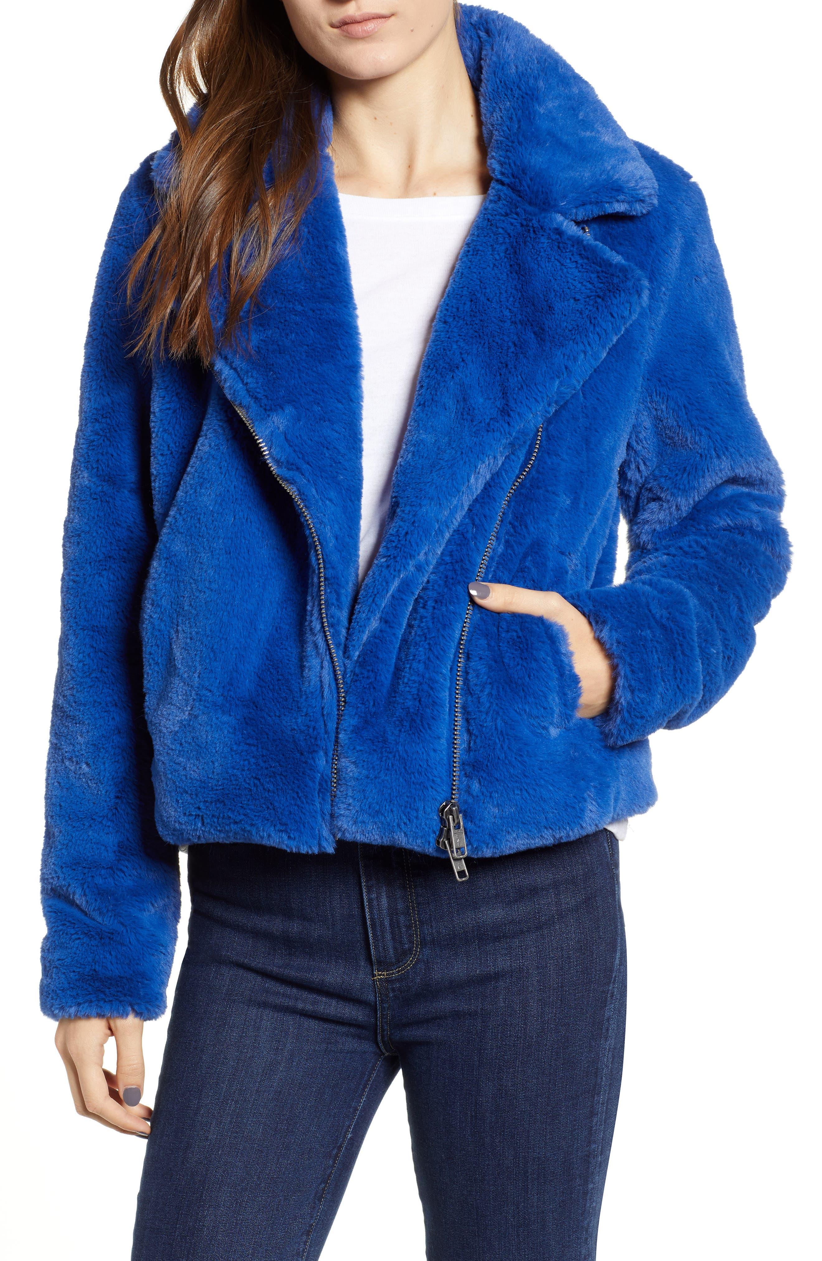 Henderson Faux Fur Moto Jacket,                         Main,                         color, BLUE