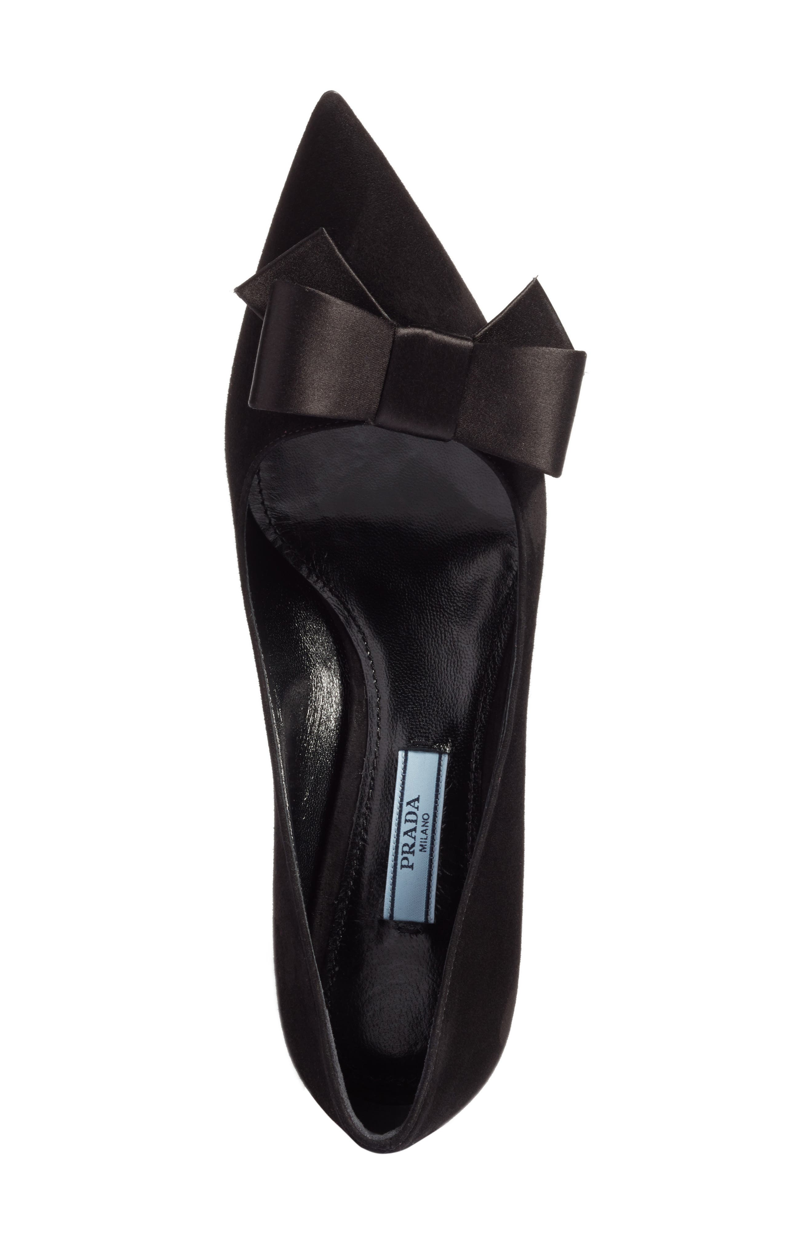 Bow Pointy Toe Pump,                             Alternate thumbnail 5, color,                             001