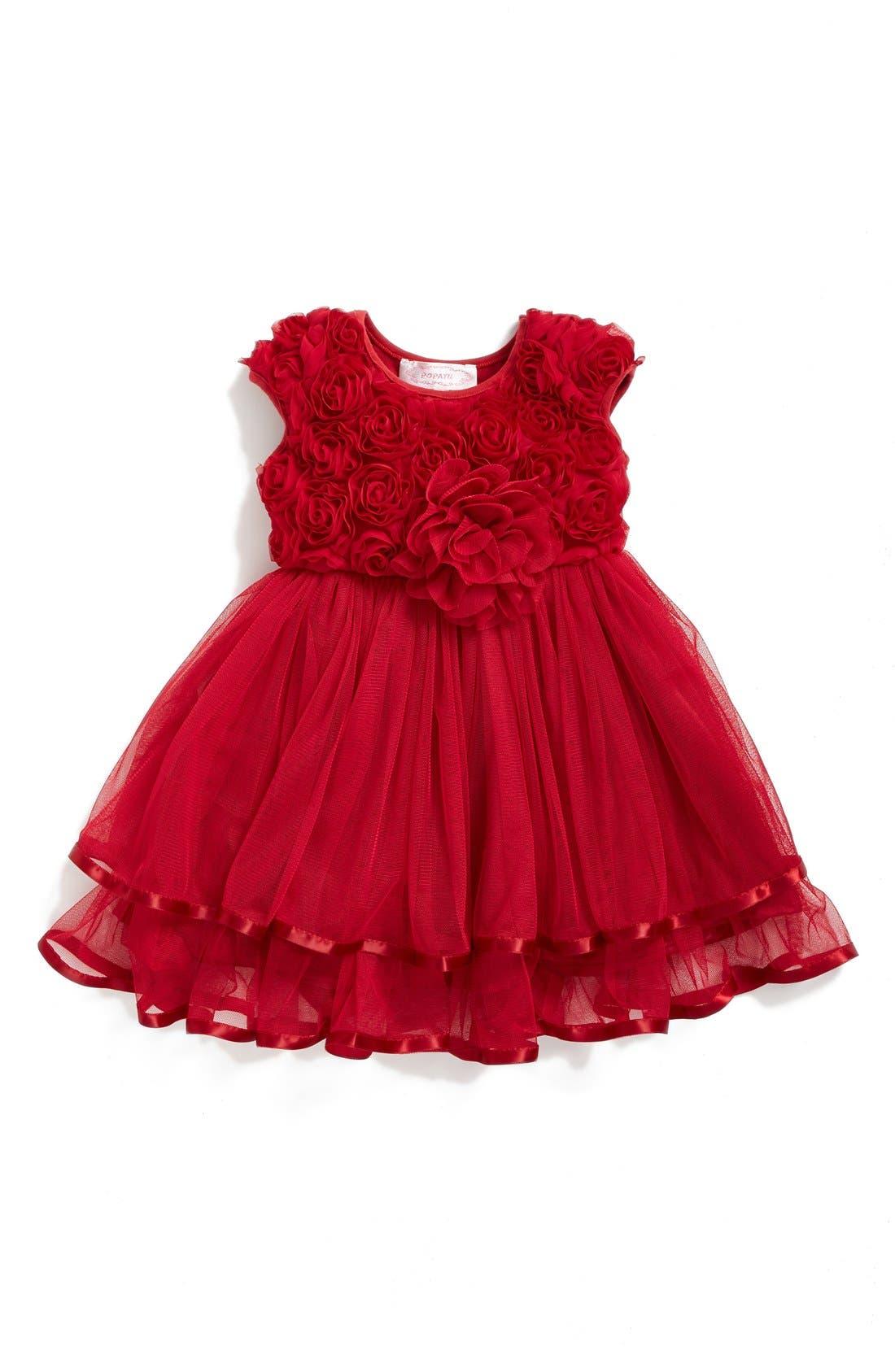 Rosette Tulle Dress,                         Main,                         color, RED