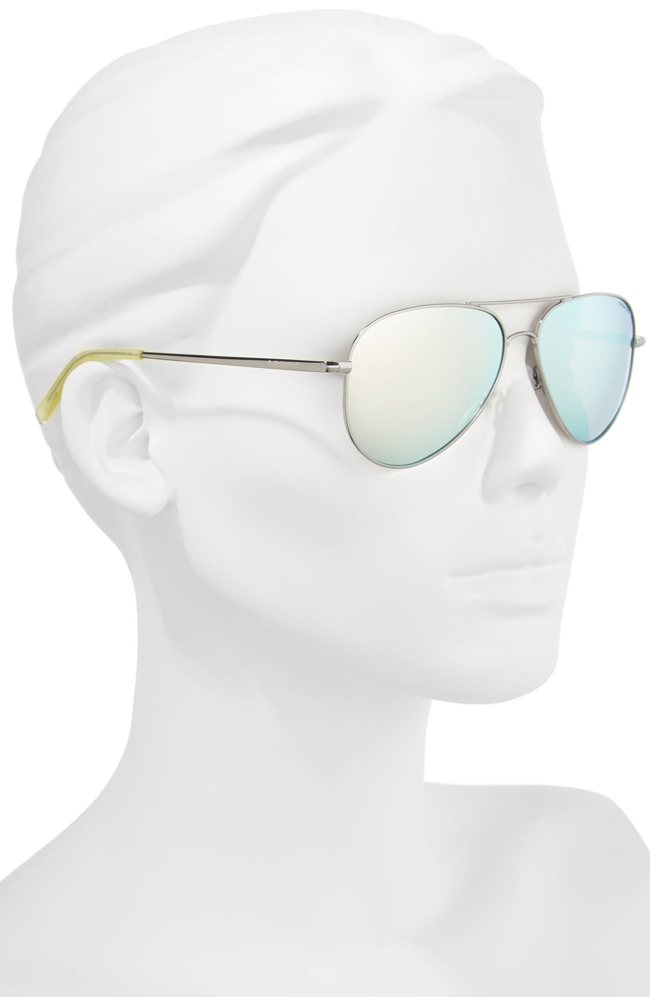 56mm Polarized Aviator Sunglasses,                             Alternate thumbnail 2, color,                             043