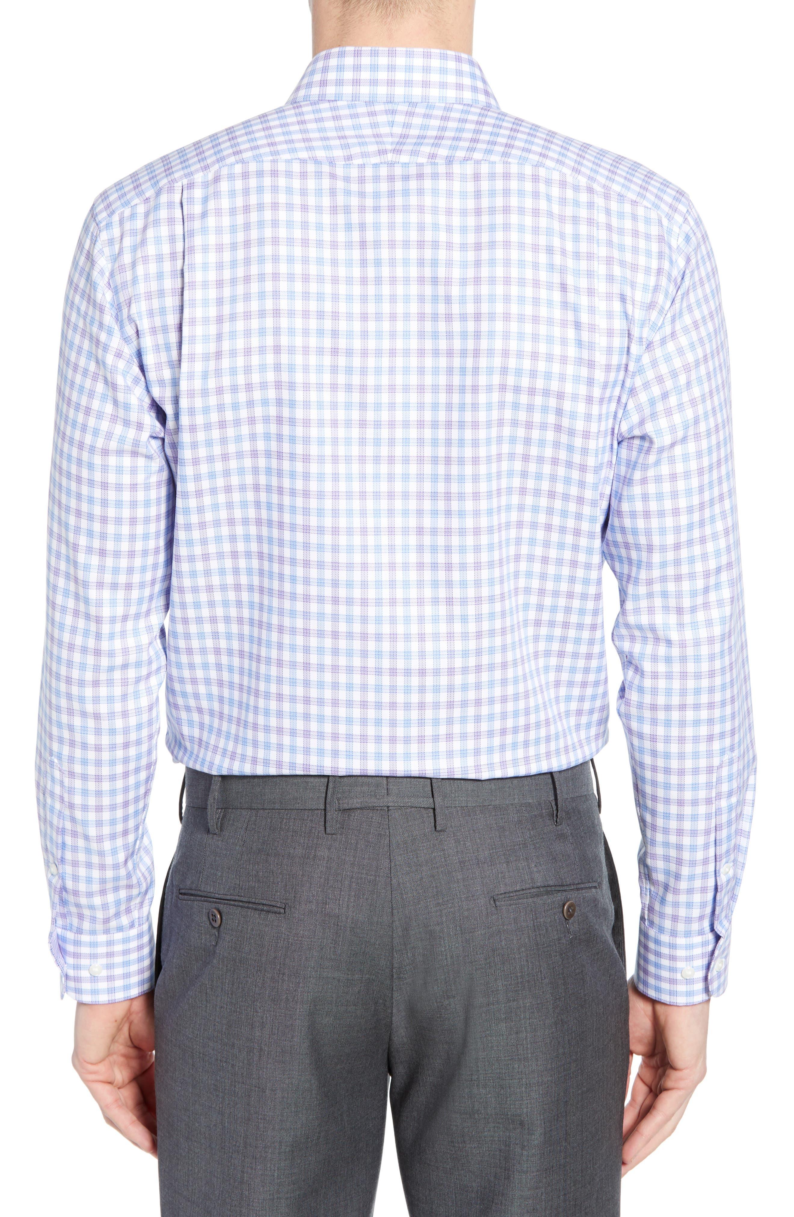 Tech-Smart Trim Fit Stretch Check Dress Shirt,                             Alternate thumbnail 3, color,                             RED SAUCY