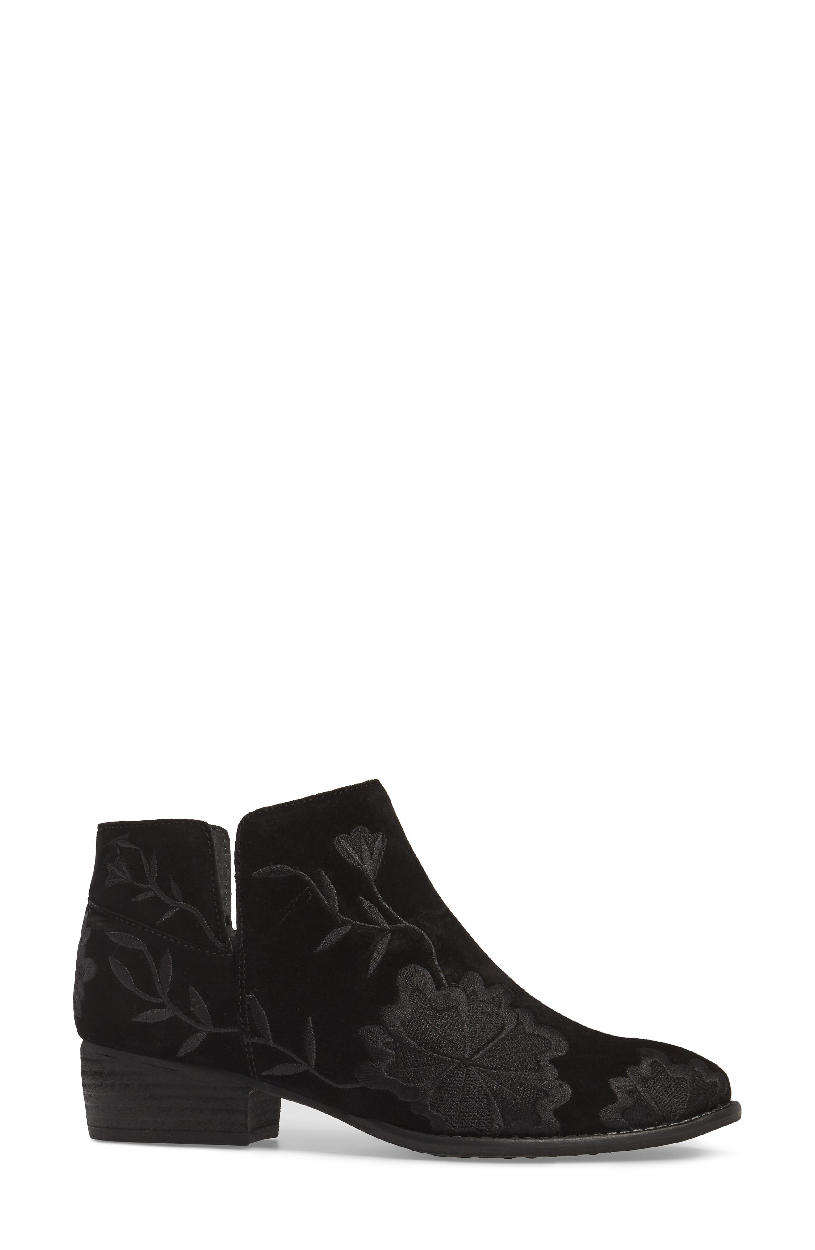Lantern Embroidered Short Bootie,                             Alternate thumbnail 3, color,                             001