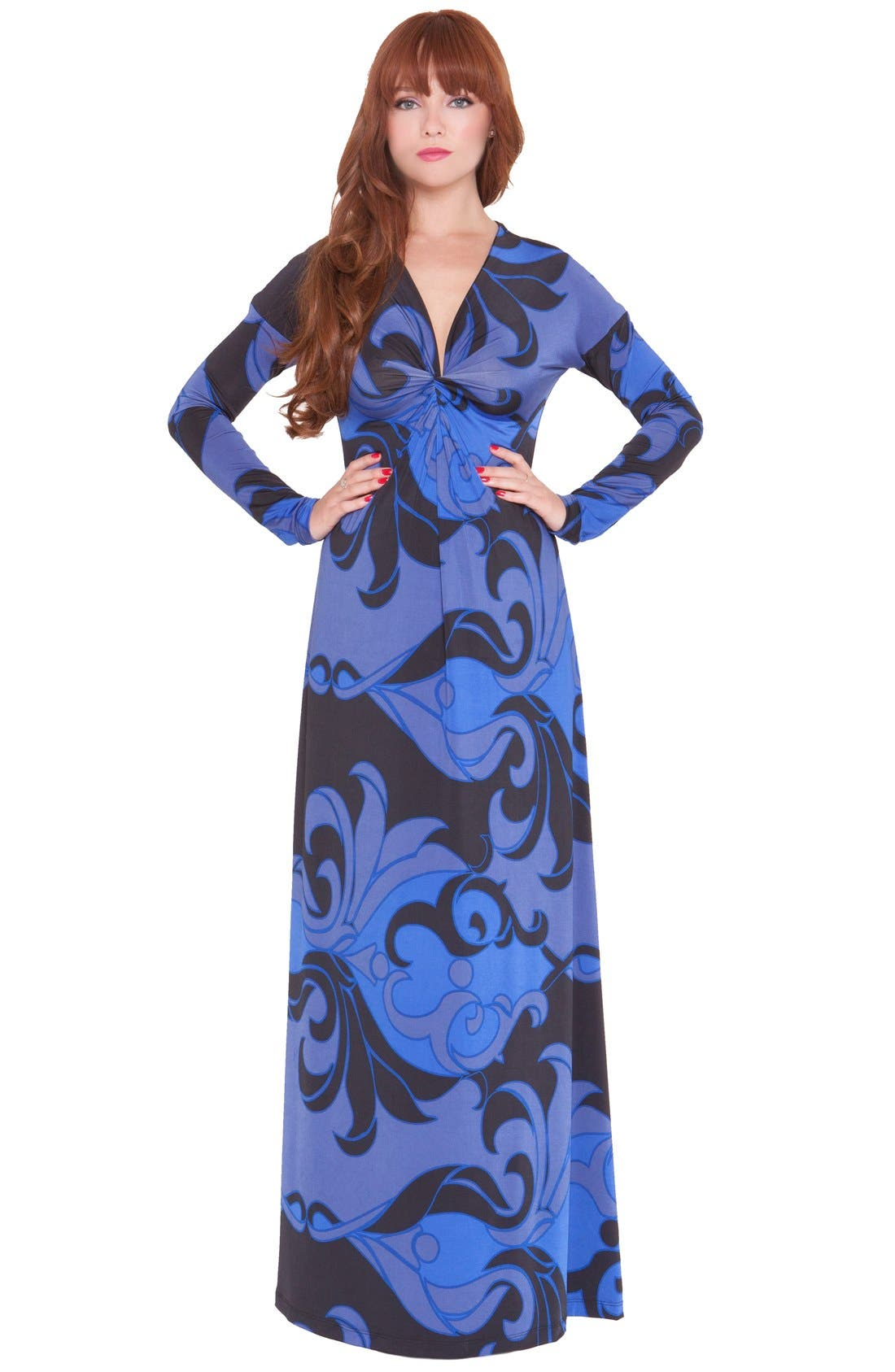 'Katherine' Print Maternity Maxi Dress,                         Main,                         color, BLUE