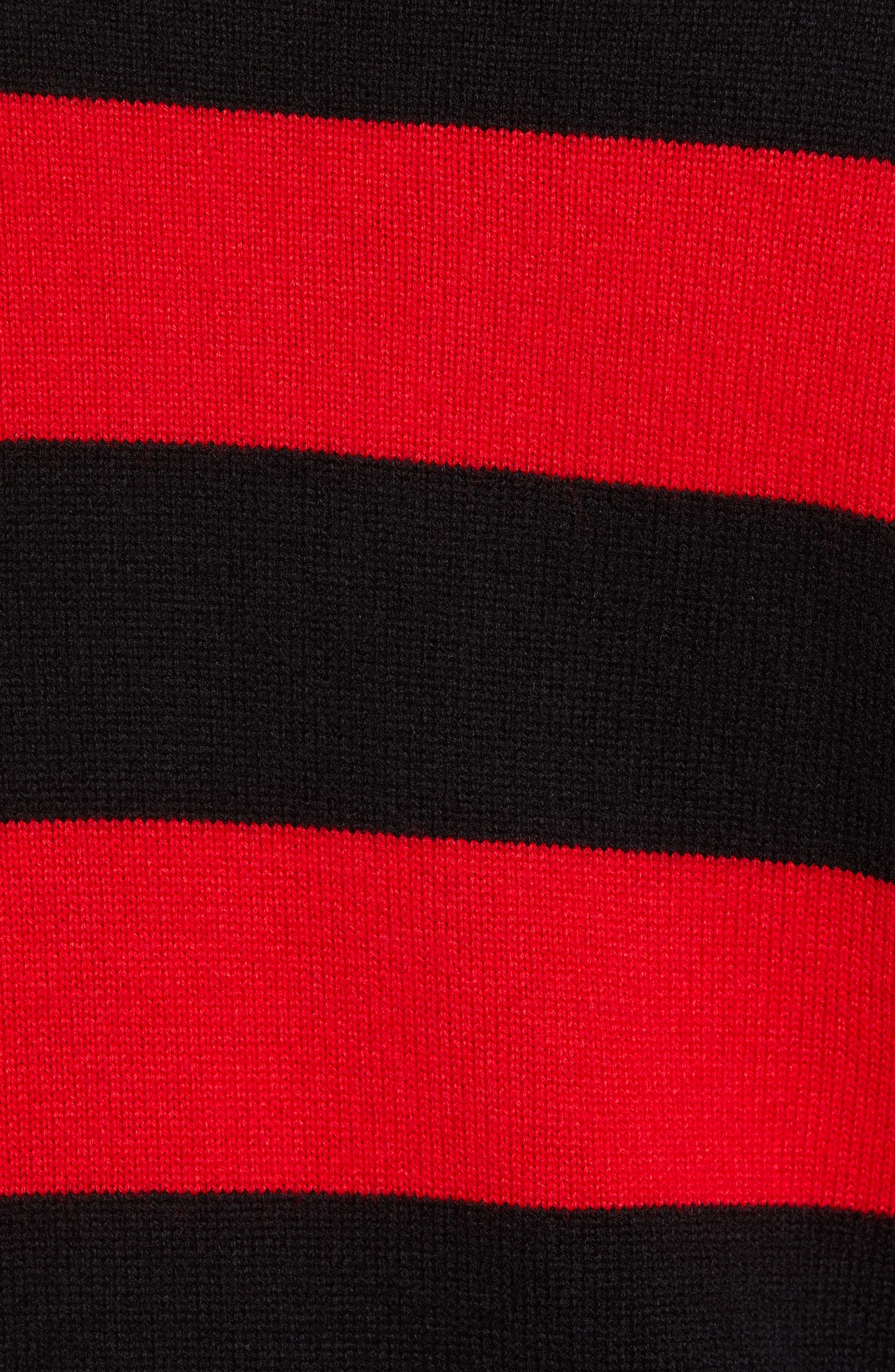 Shredded Stripe Sweater,                             Alternate thumbnail 5, color,                             RED/ BLACK
