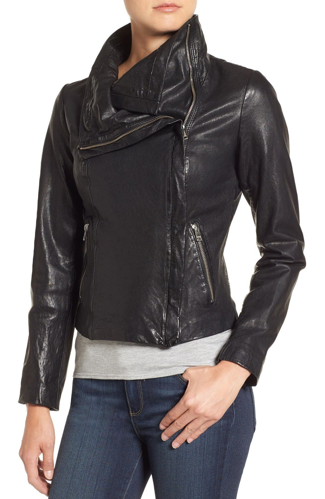 Funnel Neck Moto Jacket,                             Alternate thumbnail 10, color,                             BLACK