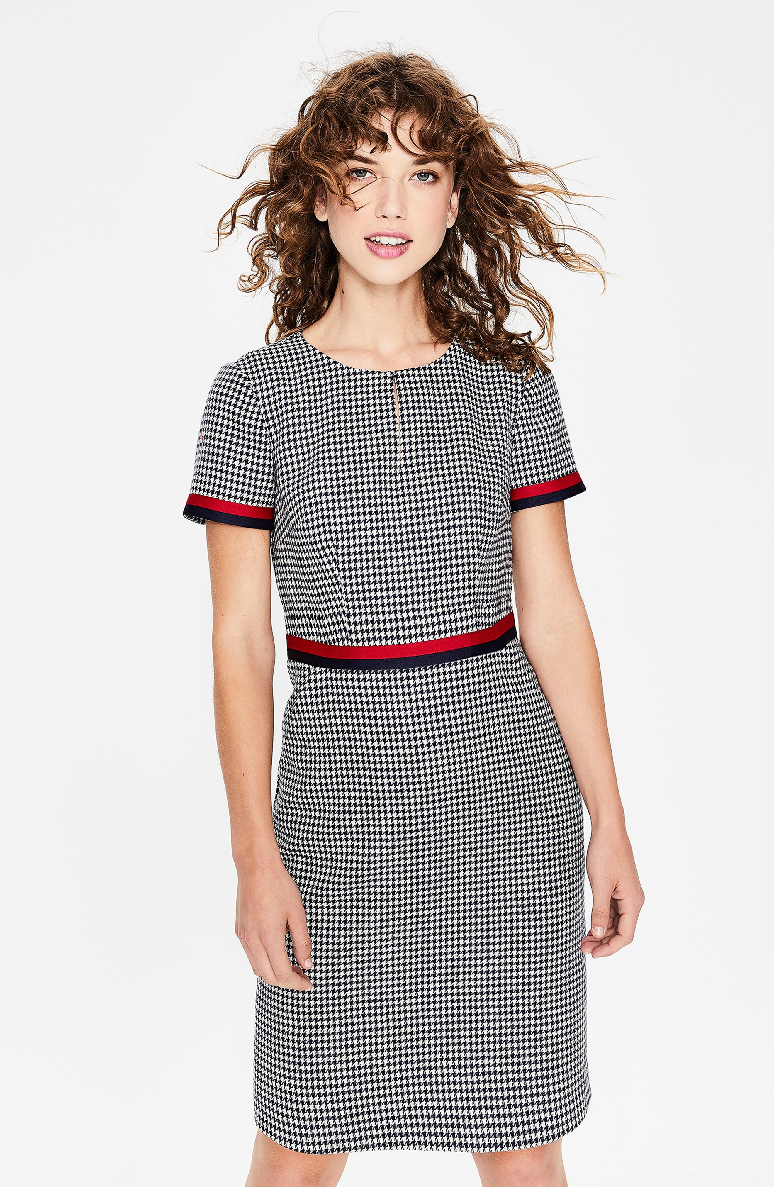 Ribbon Trim Wool Tweed Dress,                             Alternate thumbnail 6, color,                             400
